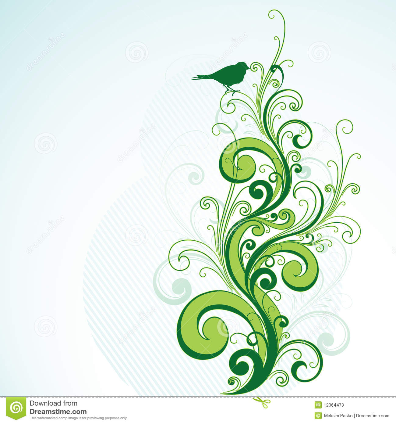 Green floral and bird design stock illustration image for Green design