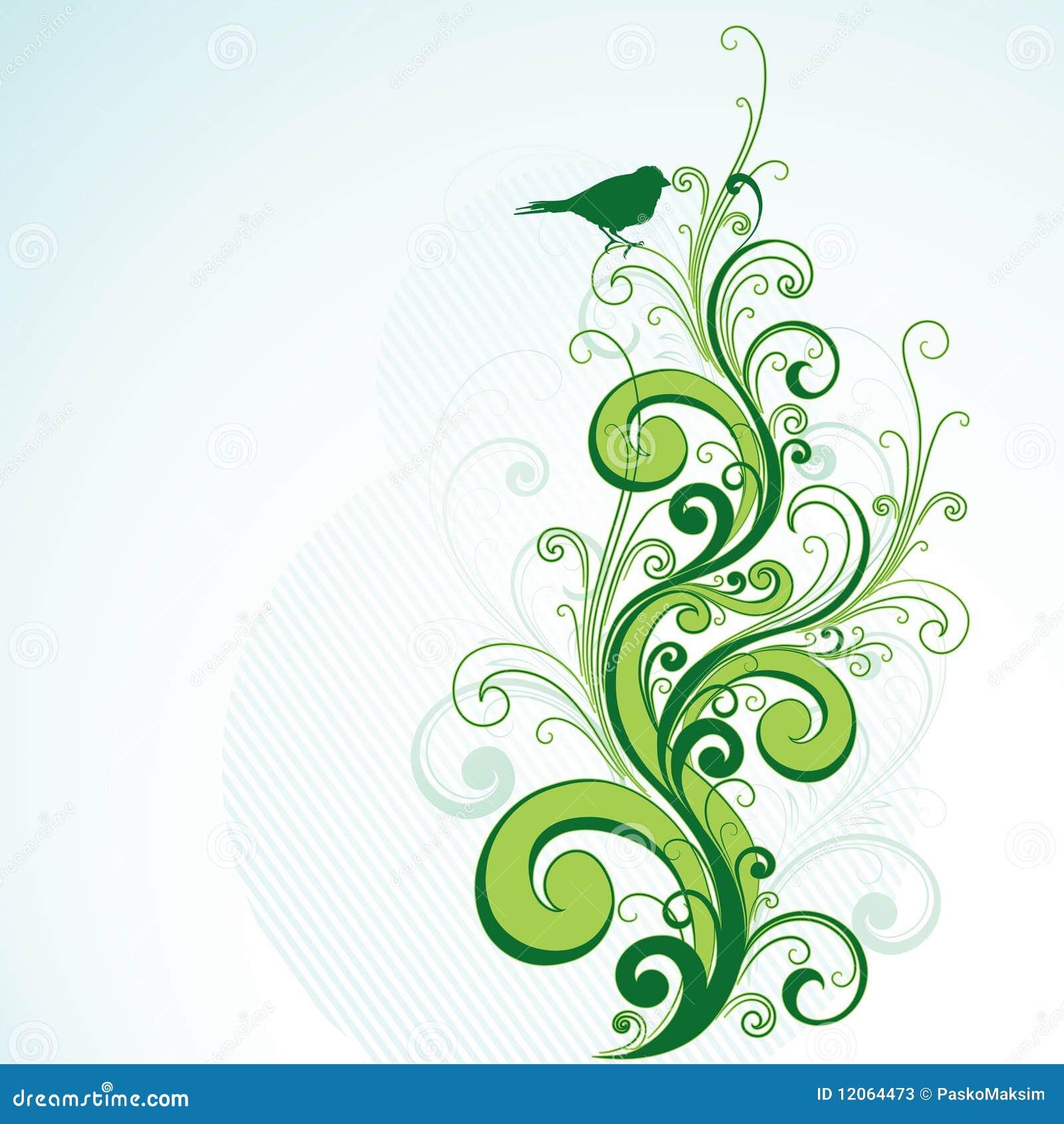 Green Floral And Bird Design Stock Illustration Image