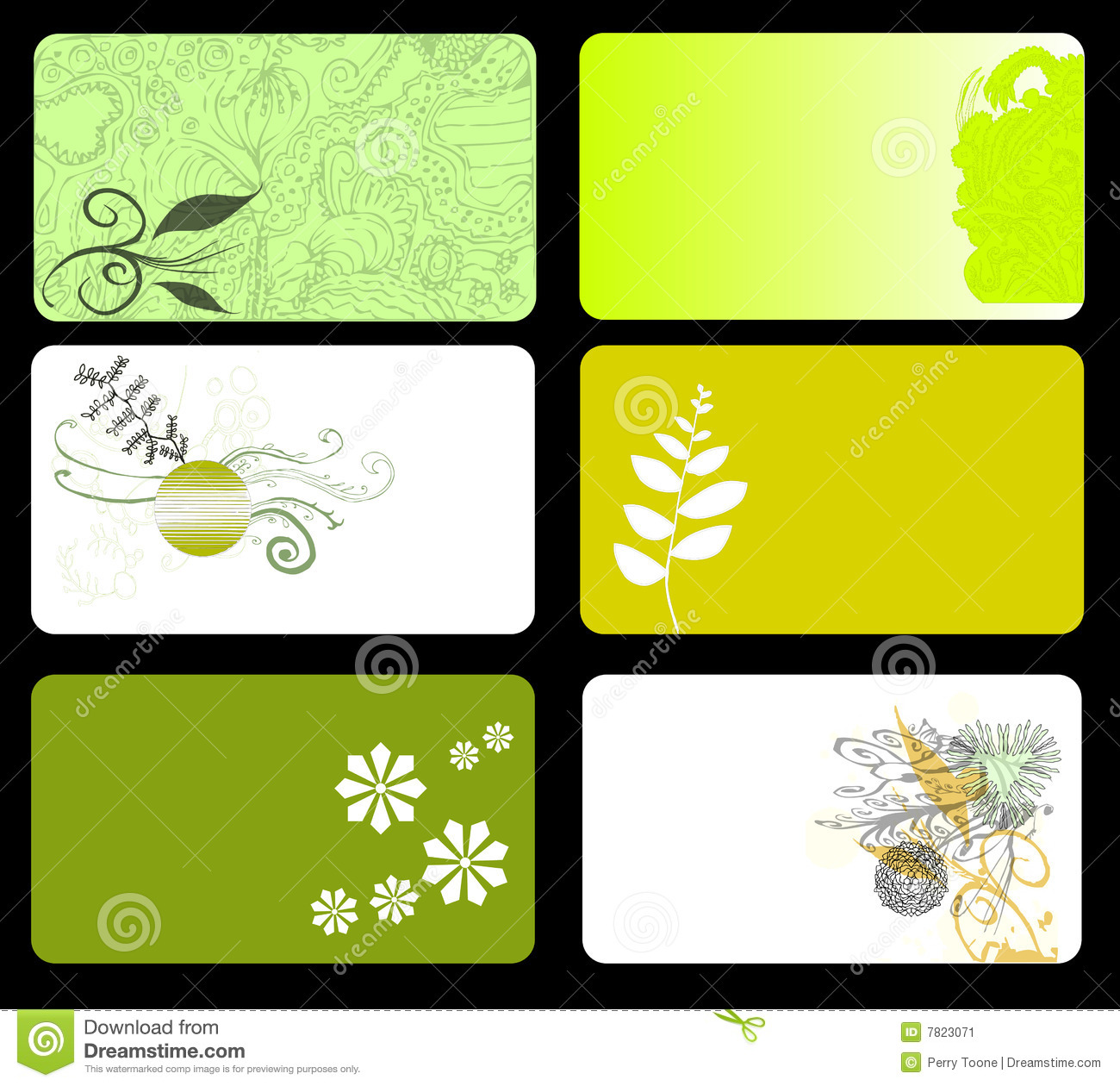 Green Floral Business Cards Stock Image - Image: 7823071