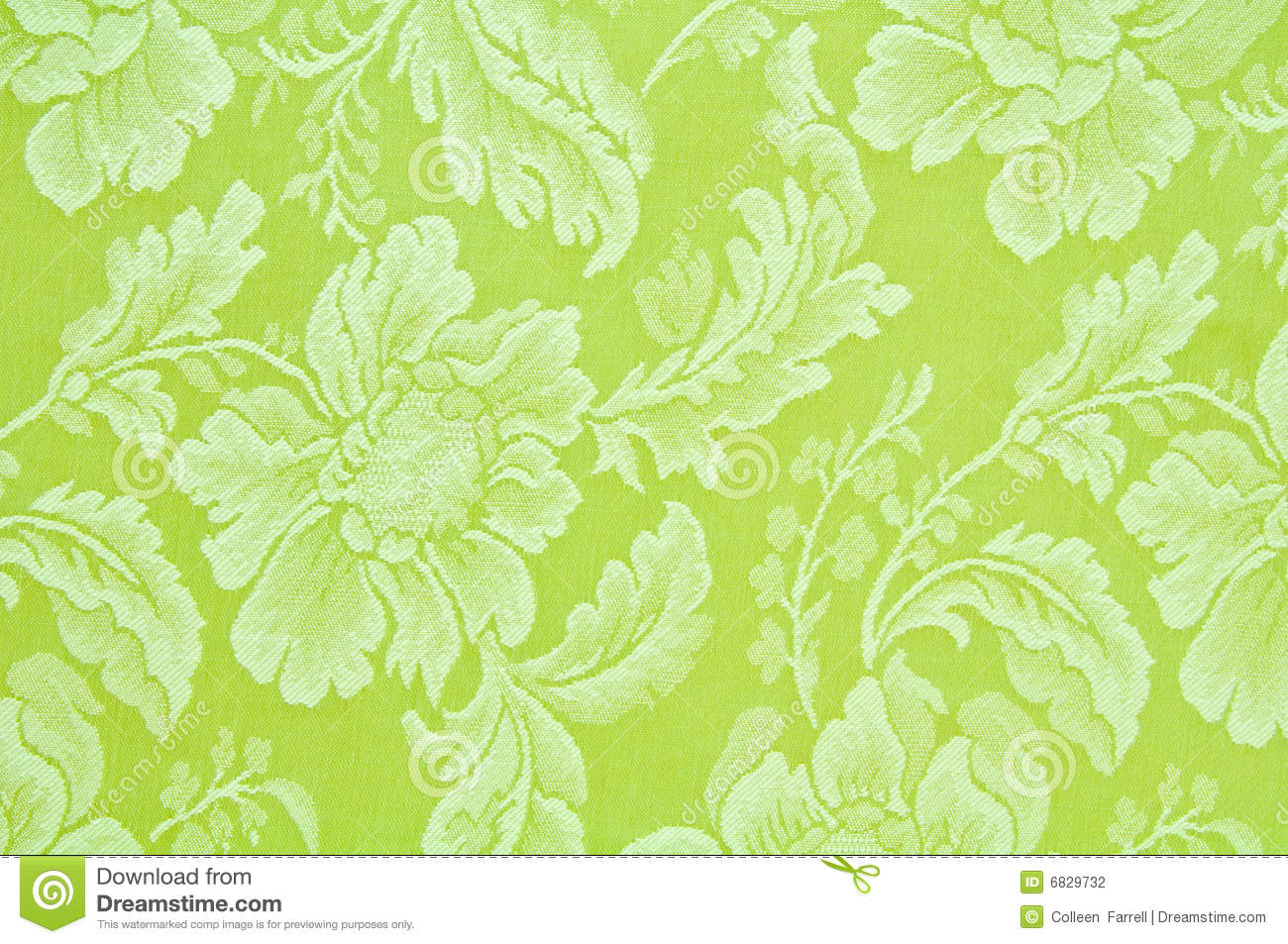 green floral pattern fabric stock photo
