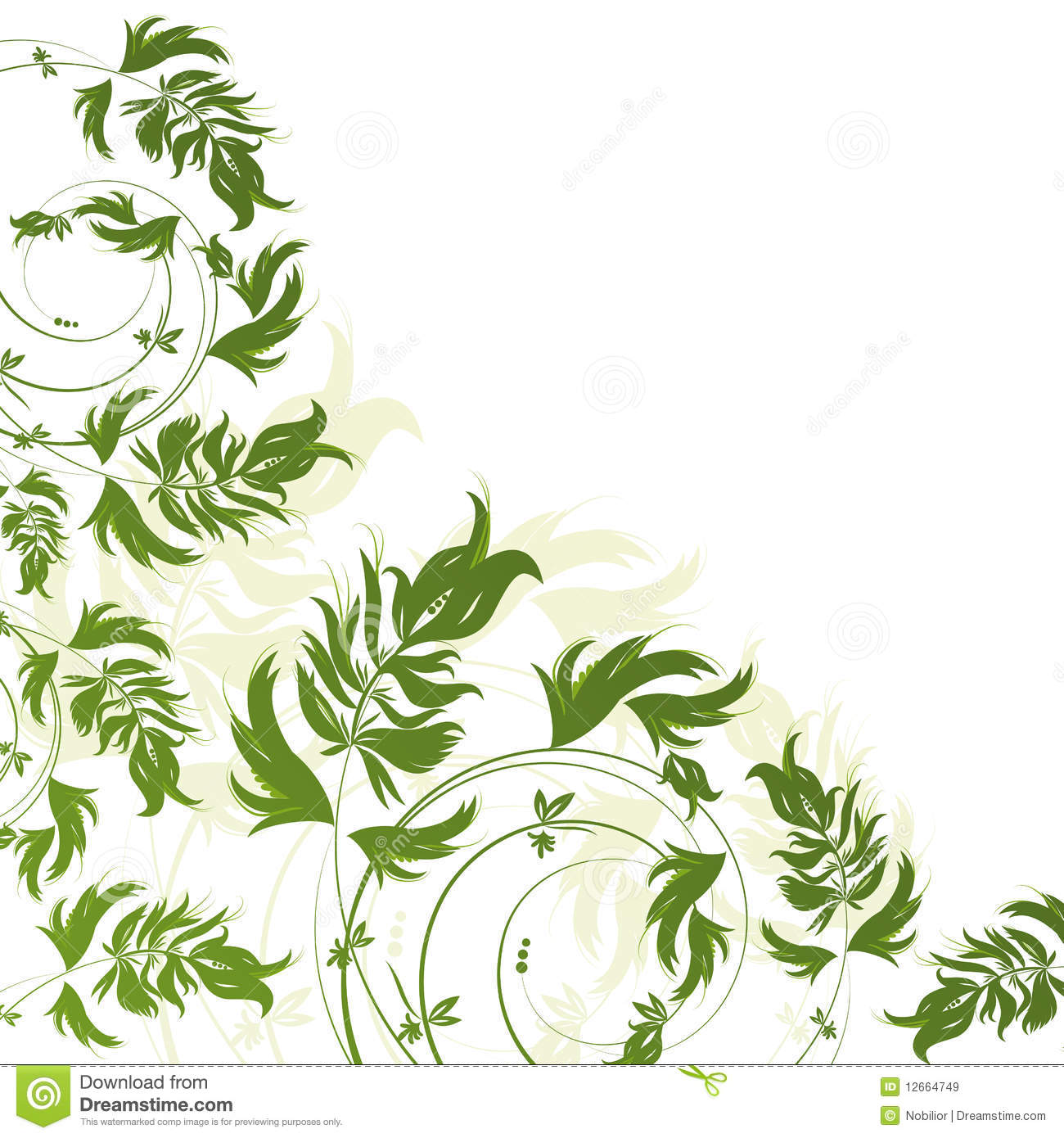 Green and white floral pattern - photo#23