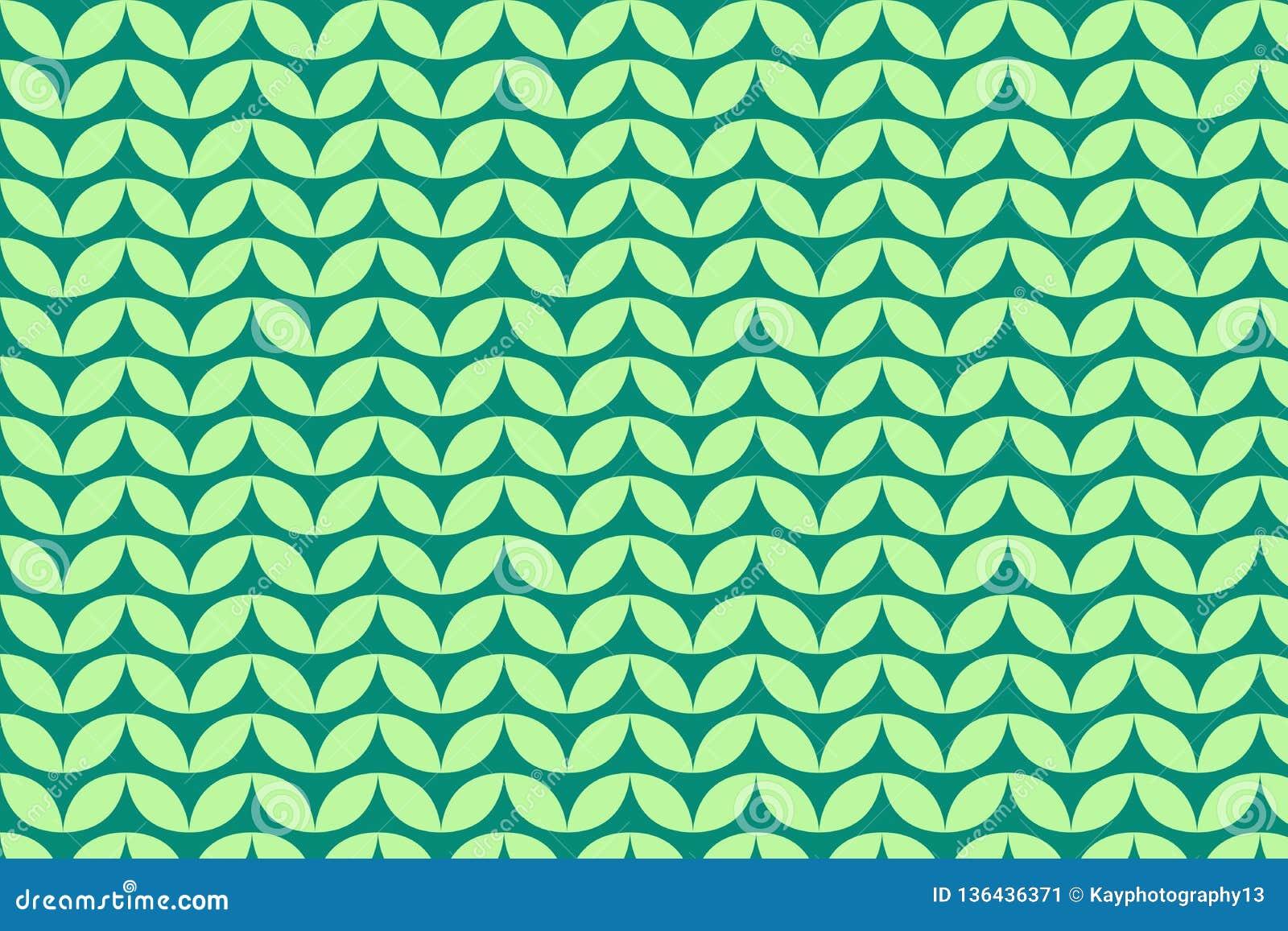 Green Floral Patterns On Dark Green Background Stock