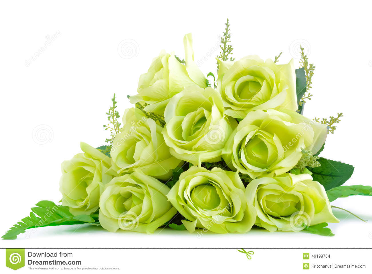 Green Flower Bouquet On White Background Stock Photo - Image of ...