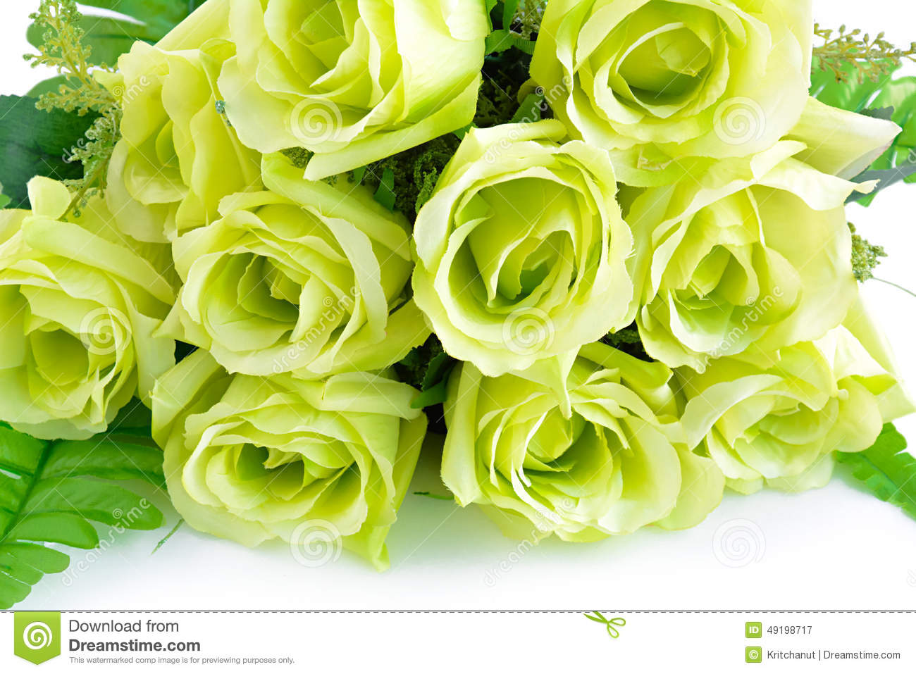 Green Flower Bouquet On White Background Stock Image - Image of ...
