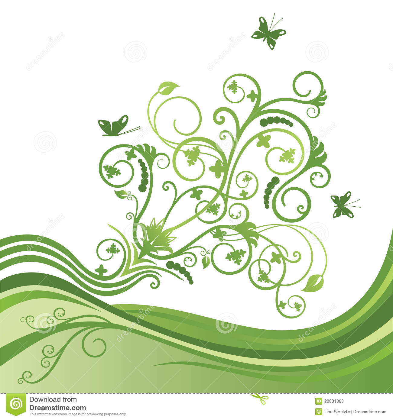 Green Flower And Butterfly Border Stock Photos - Image ...