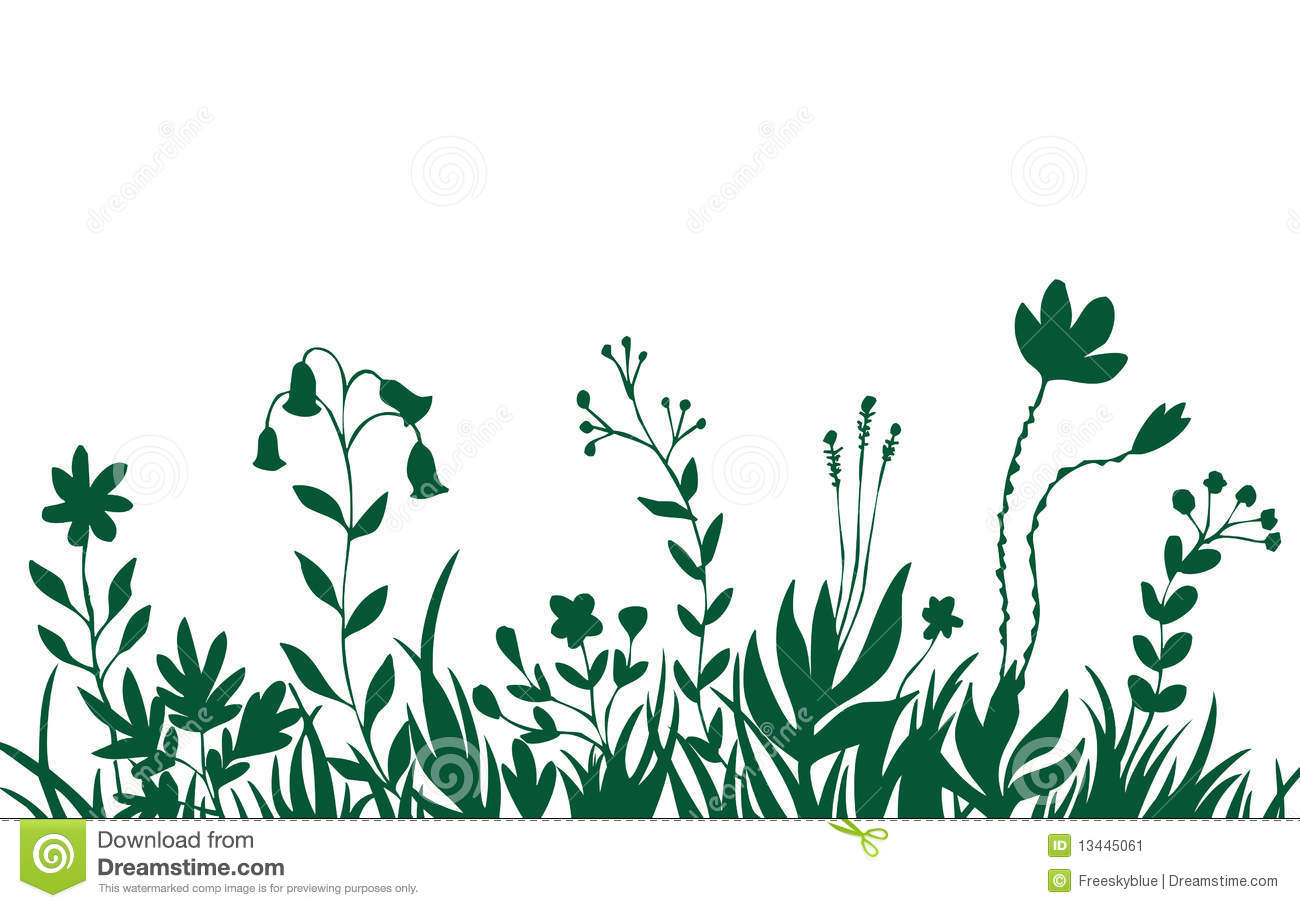 Green Flower And Grass Background Stock Image