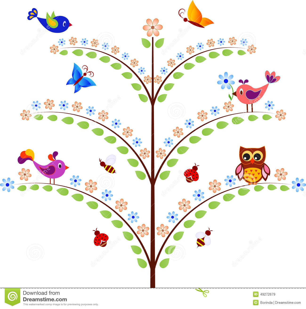Stock Illustration Green Flower Tree Insects Birds Owl Illustration Fl...