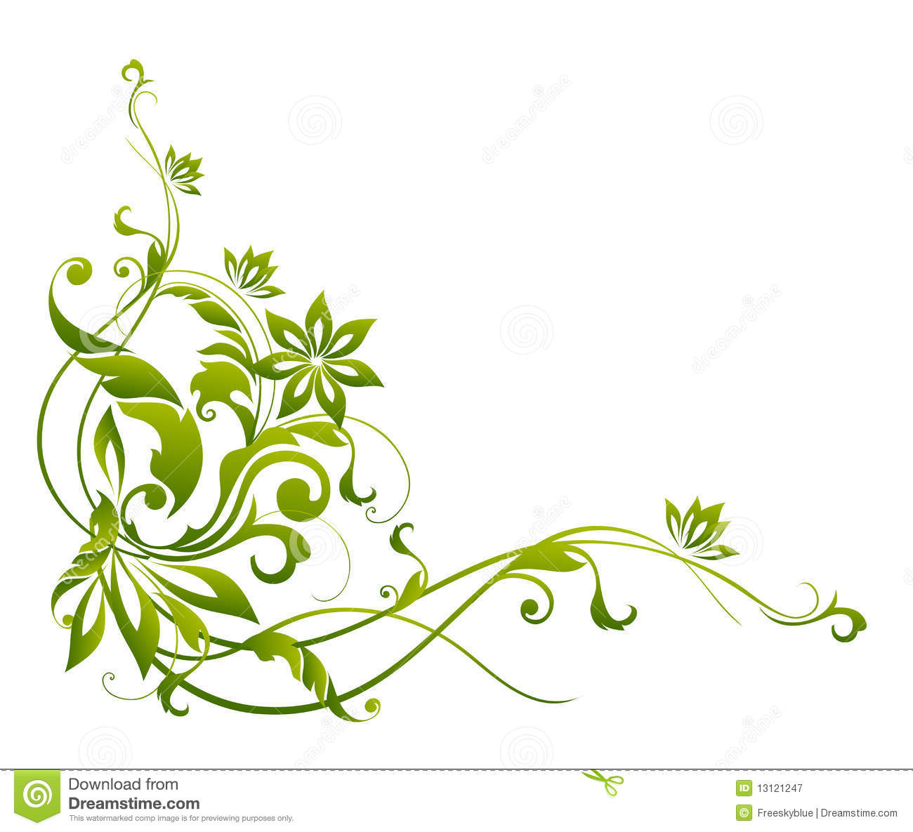 Green and white floral pattern - photo#36