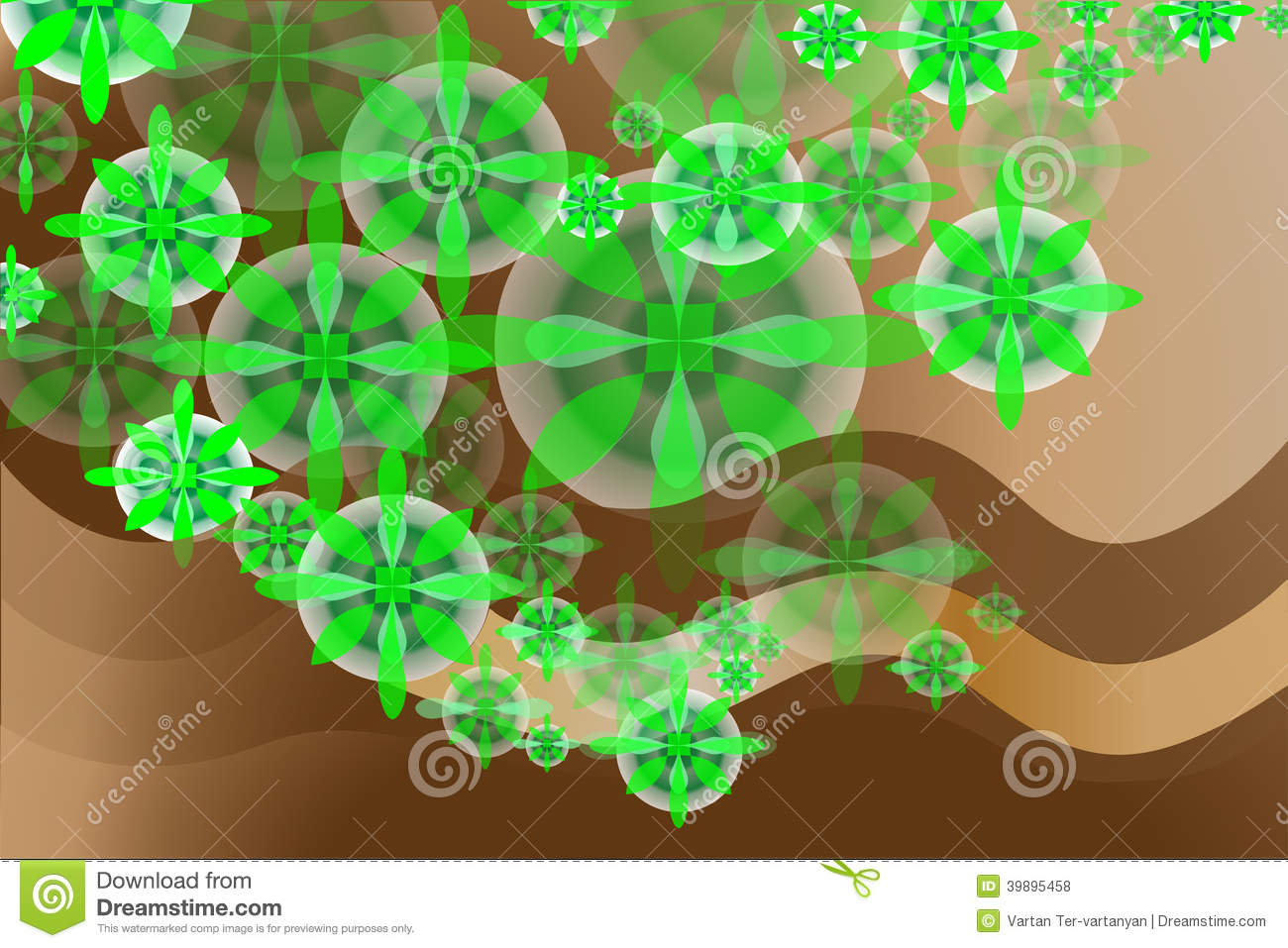 Green Flowers And Chocolate Stock Vector Image