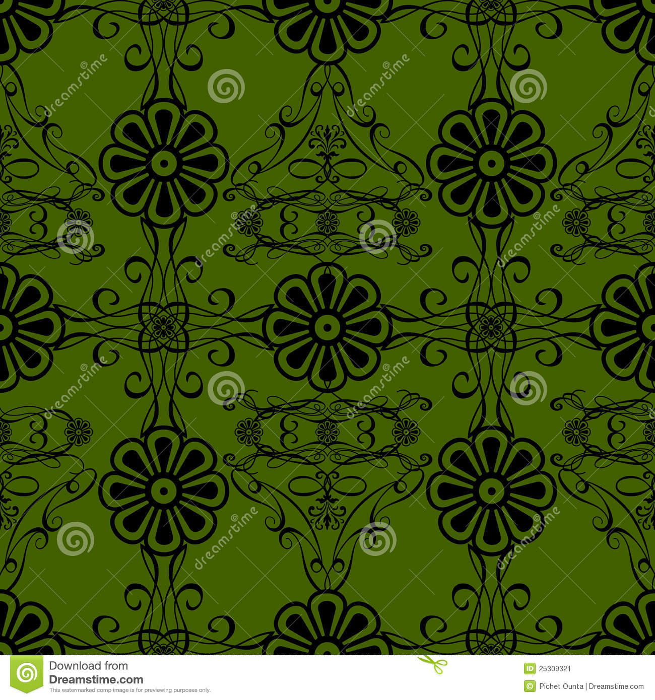 Green Flowers Vintage Style Wallpaper Background Stock ...