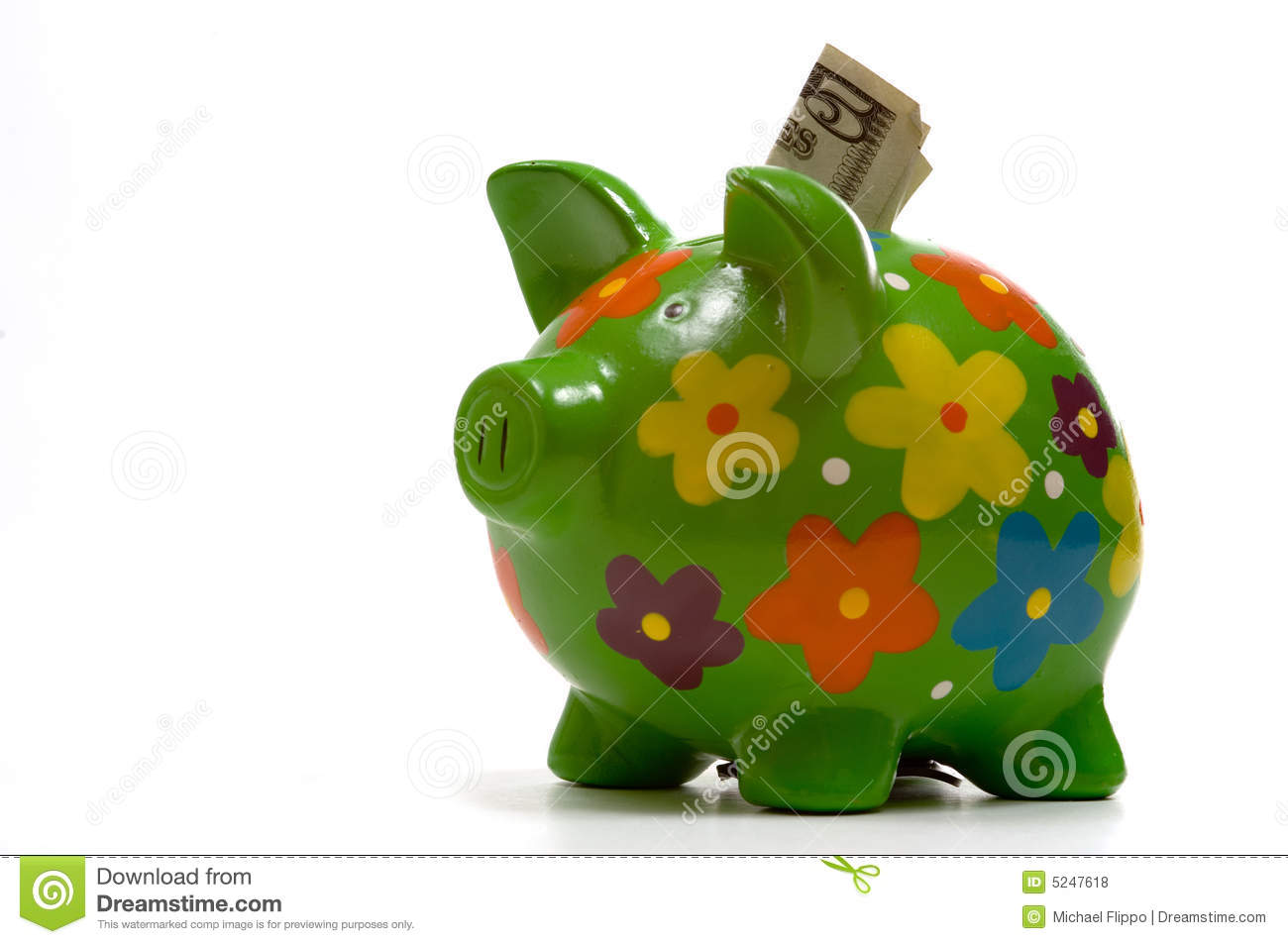 Download Green Flowery Piggy Bank stock photo. Image of piggy, bank - 5247618