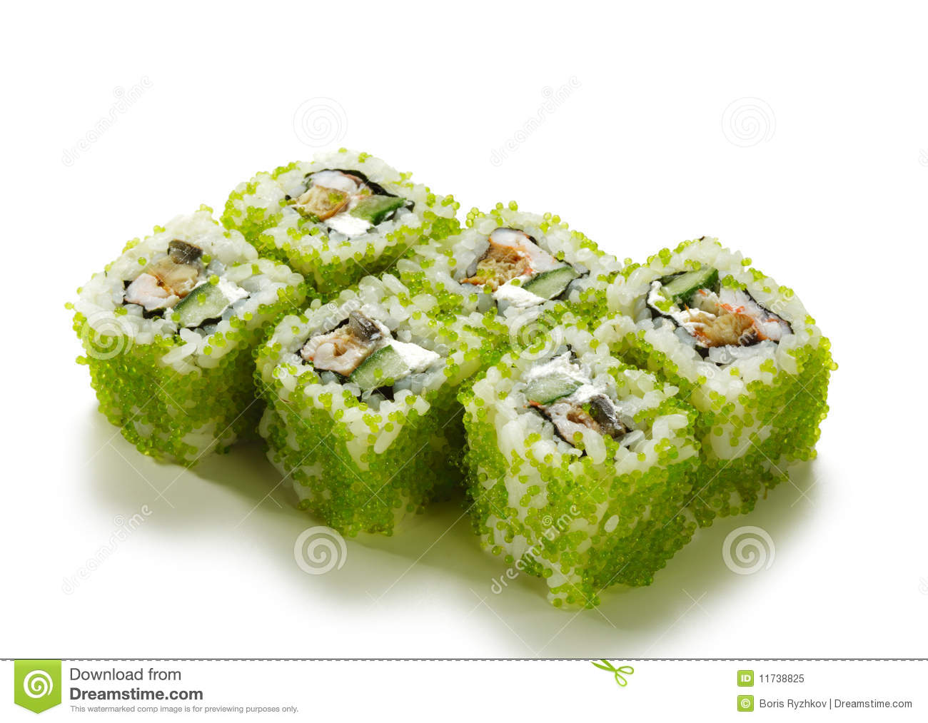 Green flying fish roe roll stock image image of asia for Flying fish roe