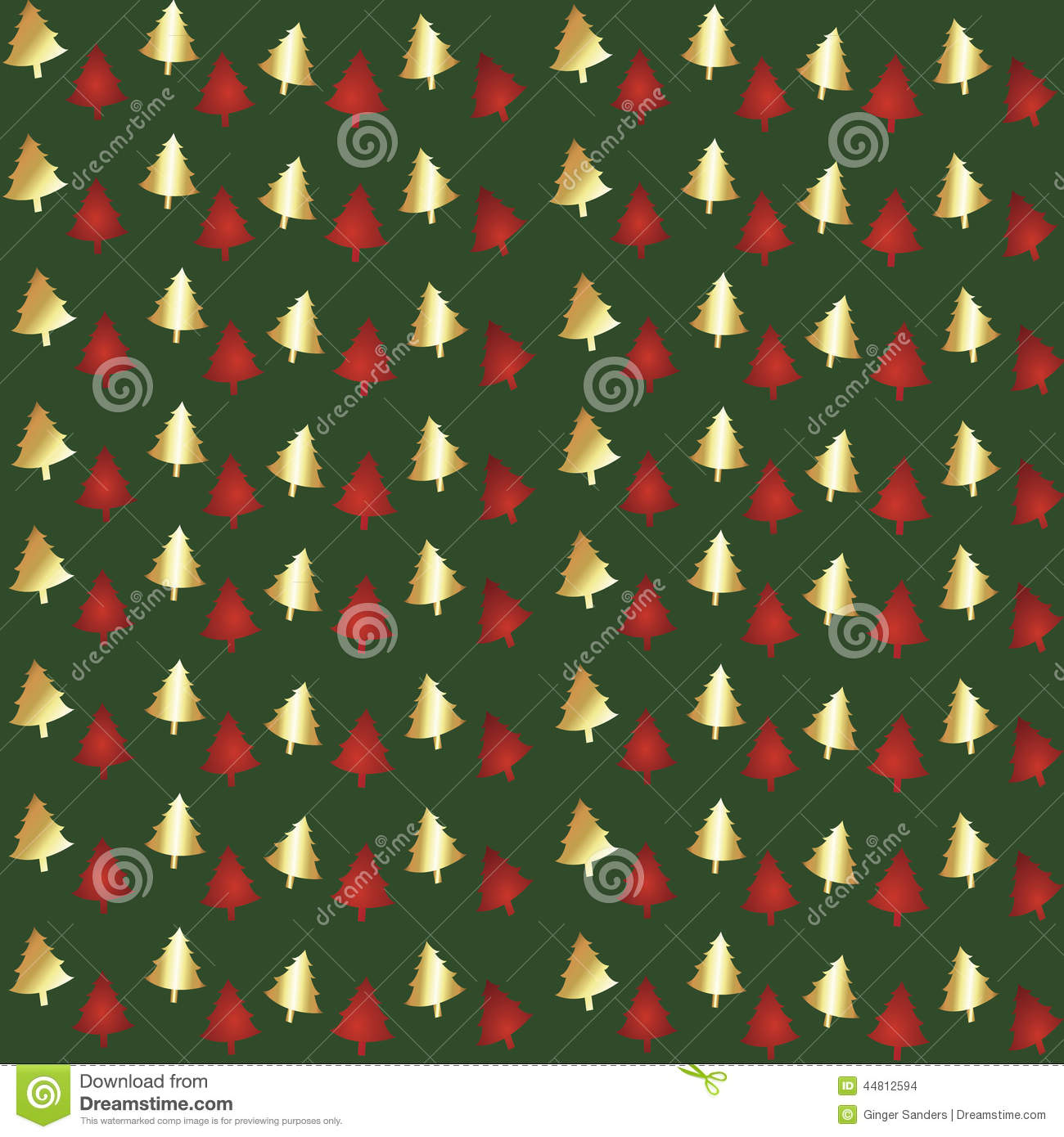 Green Foil Christmas Tree Seamless Background Pattern ...