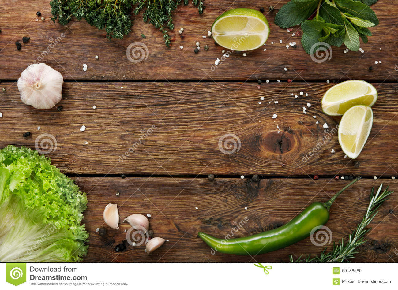 Green food background, rustic wood with copyspace