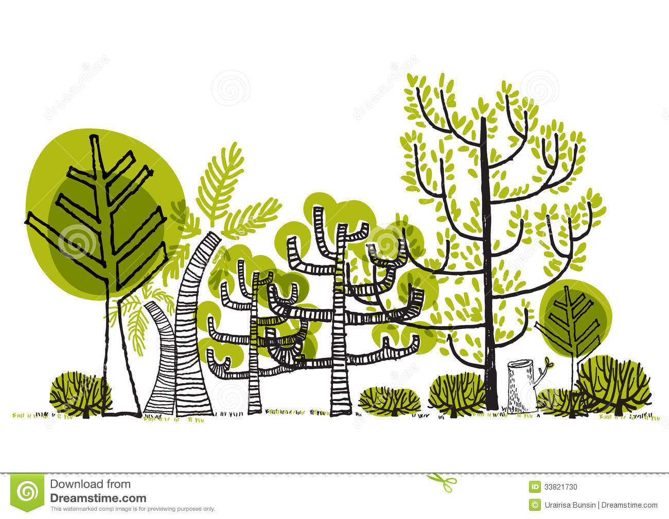 Green Forest Drawing Vector Stock Photo - Image: 33821730