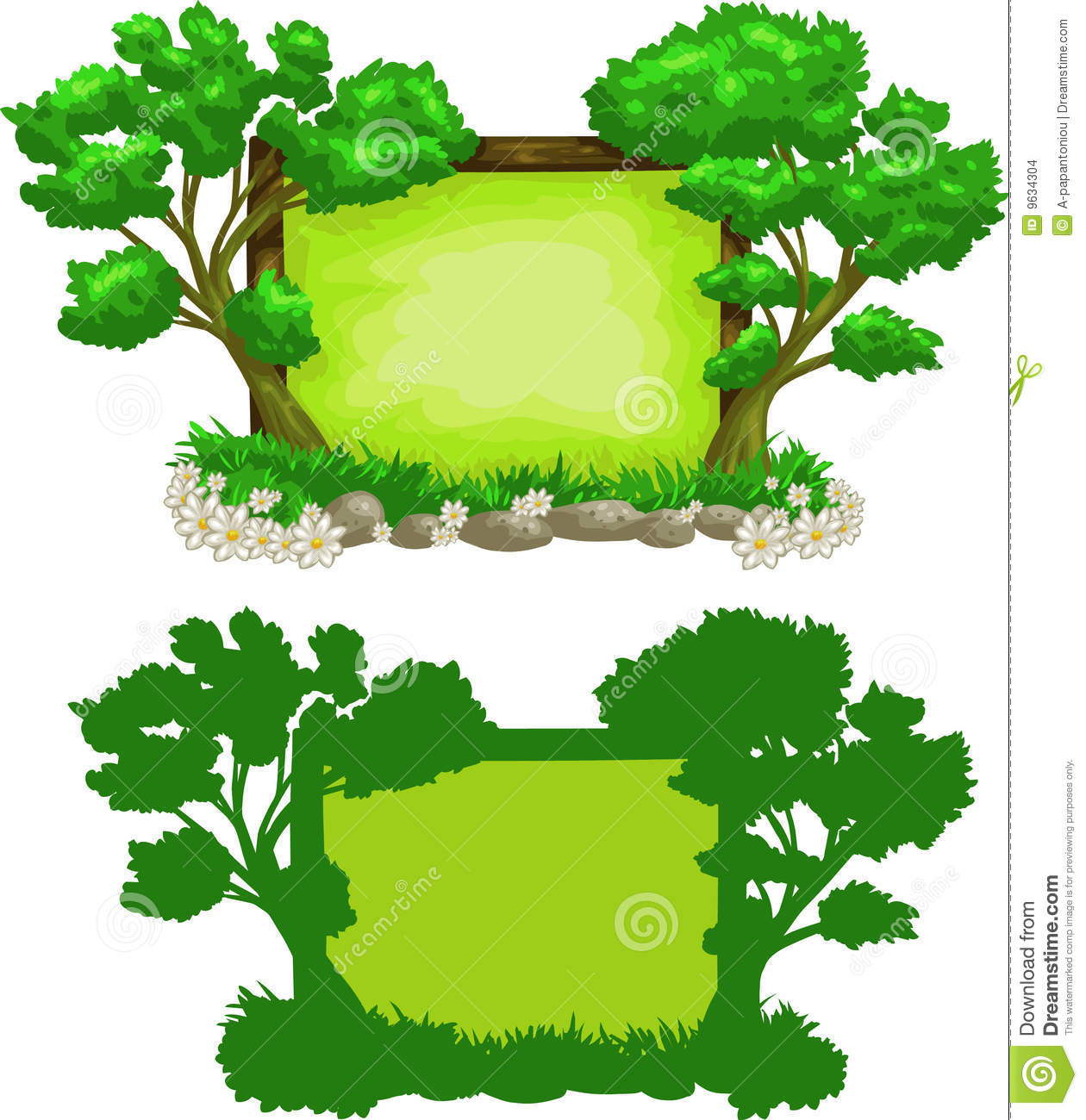 green forest sign stock vector illustration of green 9634304 rh dreamstime com Space Border Cartoon Space