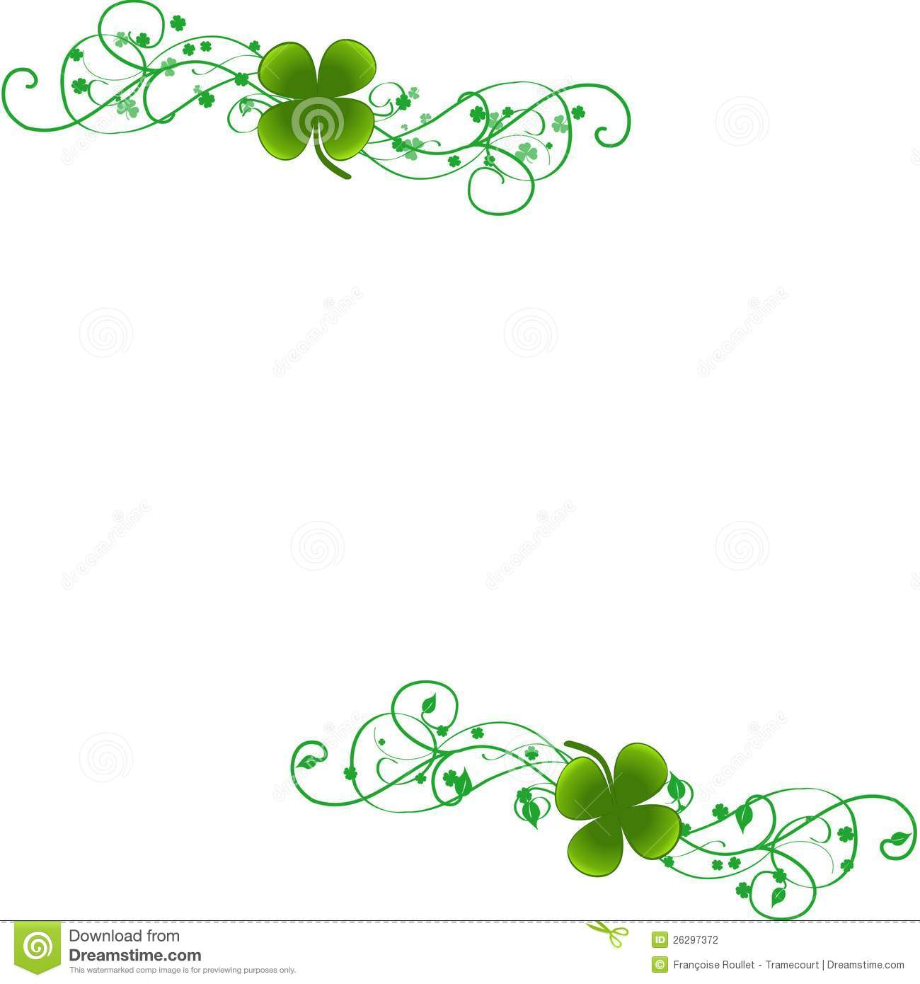 Green Four Leaf Clover Background A White With Clovers On Big