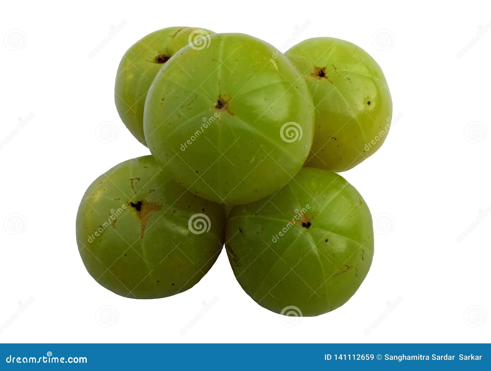 Green Fresh Amla oackgroundn white b