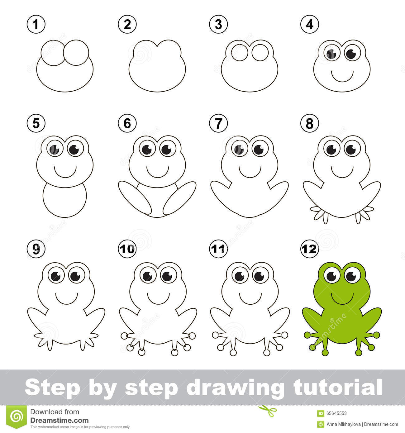Uncategorized Draw A Frog Step By Step green frog drawing tutorial stock vector image 65645553 royalty free download tutorial