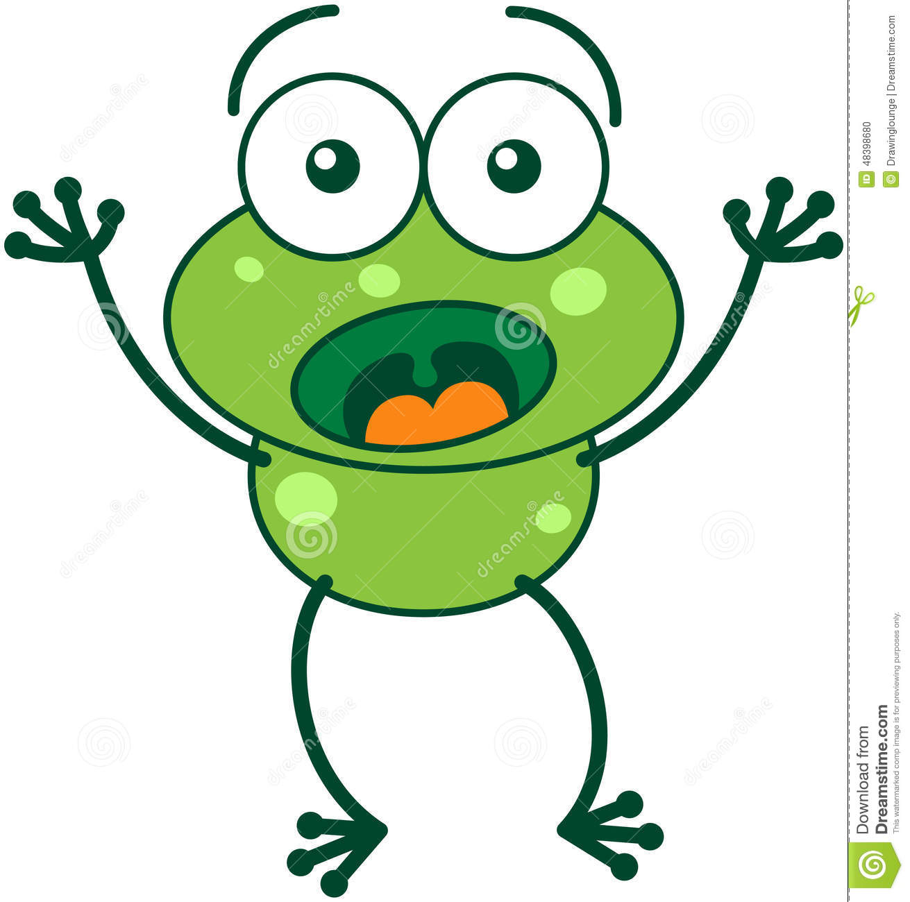 Green Frog Looking Surprised And Scared Stock Vector ...