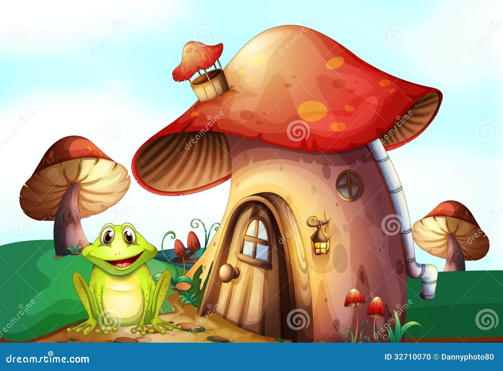 A Green Frog Near A Mushroom House Stock Vector Image