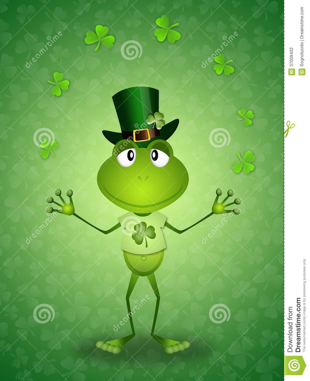 Green Frog In St.Patrick's Day Stock Photography - Image: 37009402
