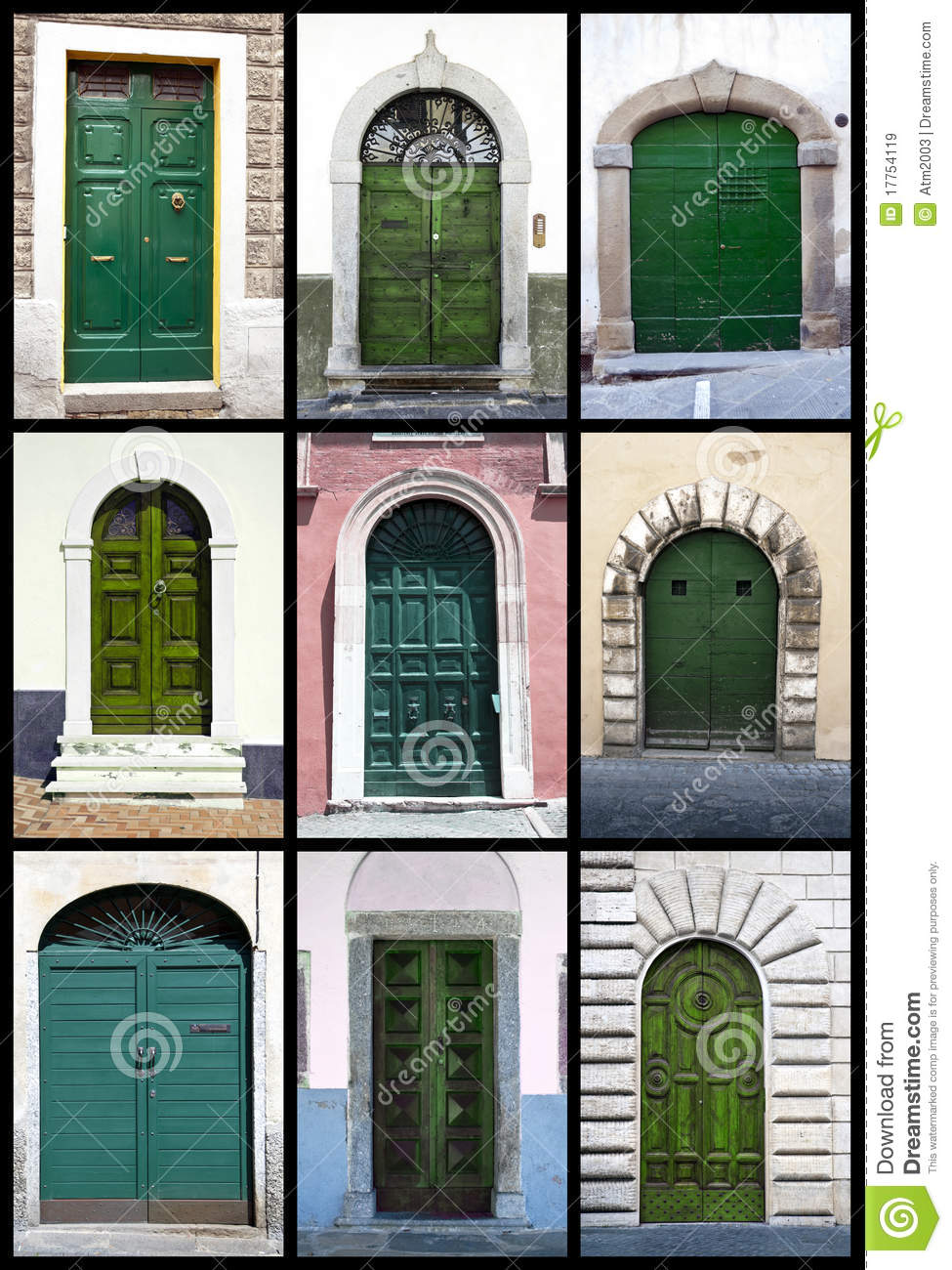 Green Front Doors Tuscany Royalty Free Stock Images