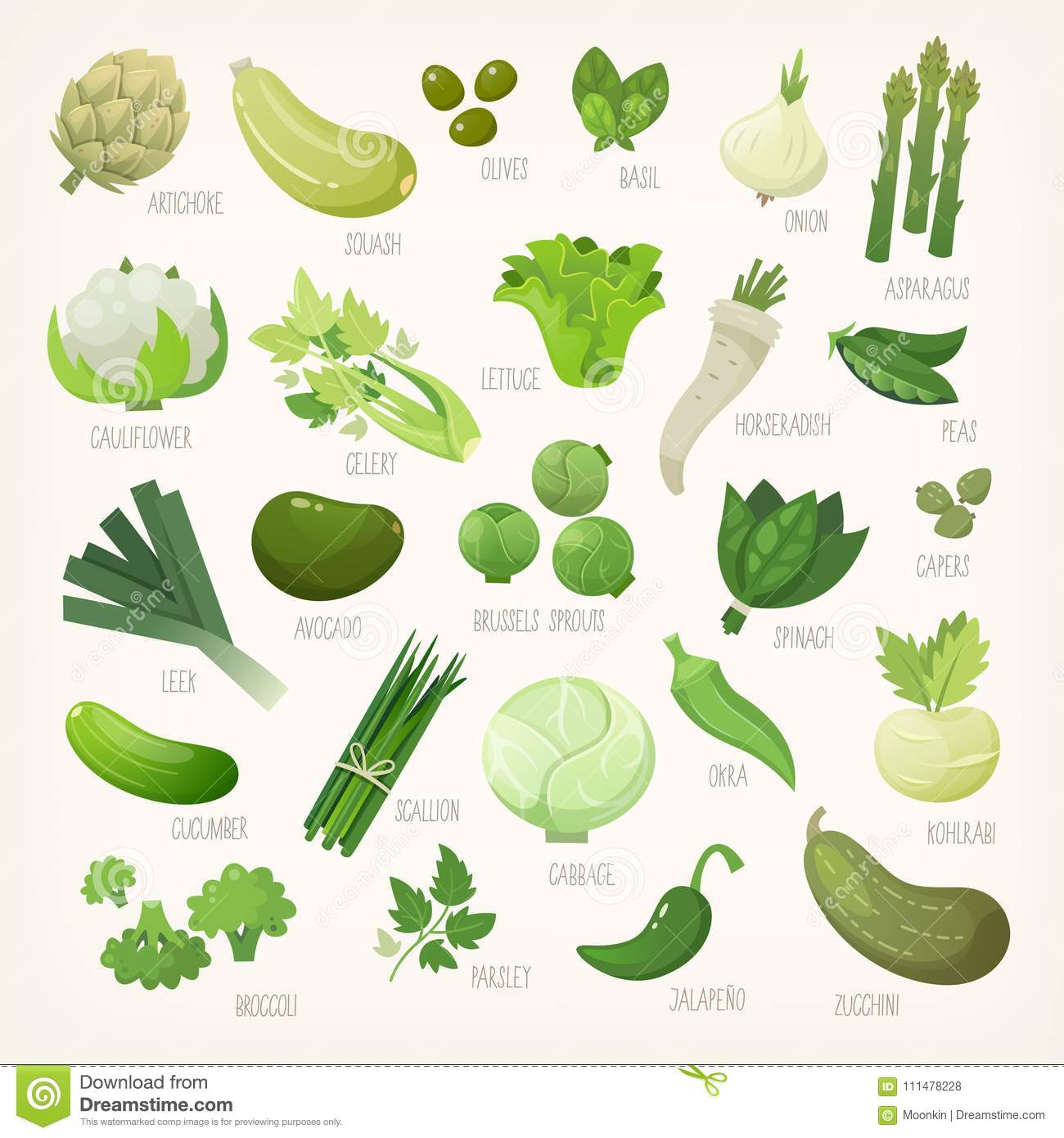 Green Fruit And Vegetables With Names Stock Vector - Illustration of