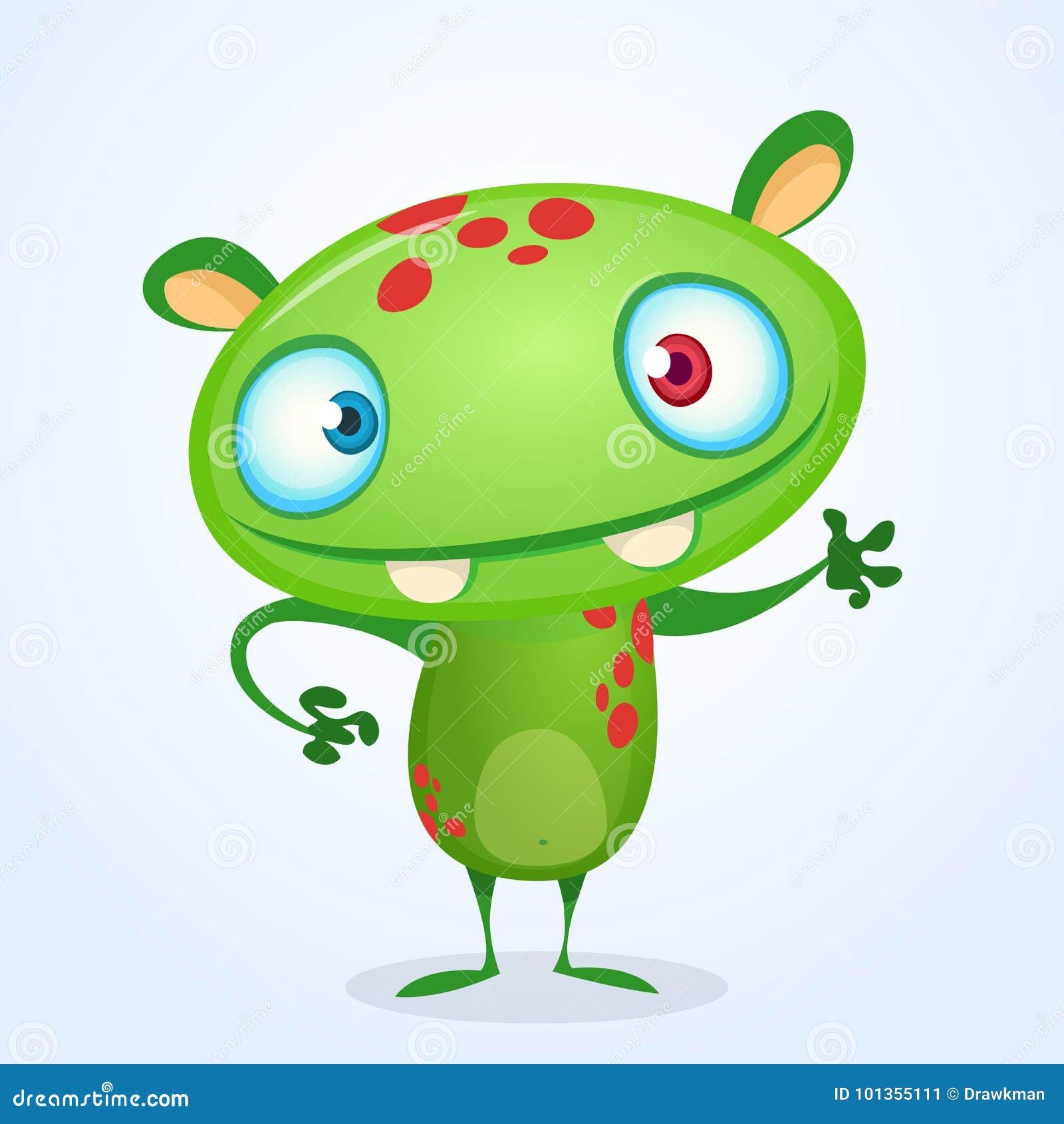 Green Funny Happy Cartoon Monster. Green Vector Alien Character ...