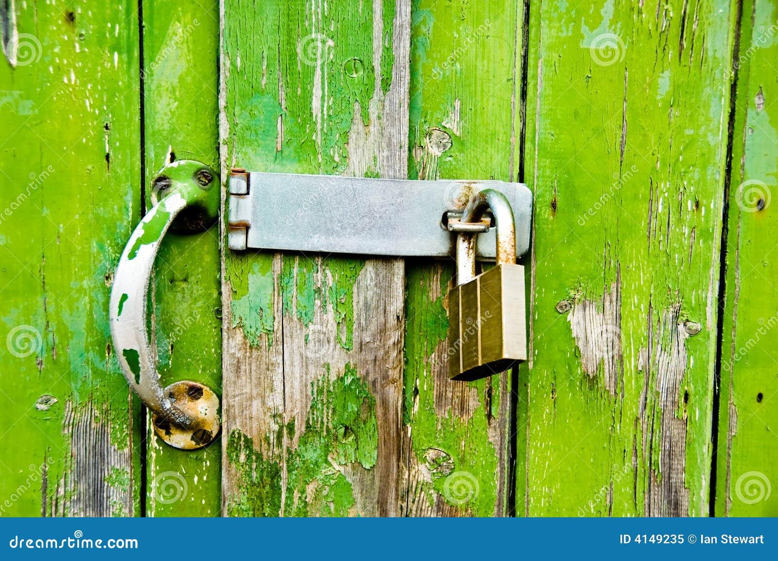 Green Garage Door Lock
