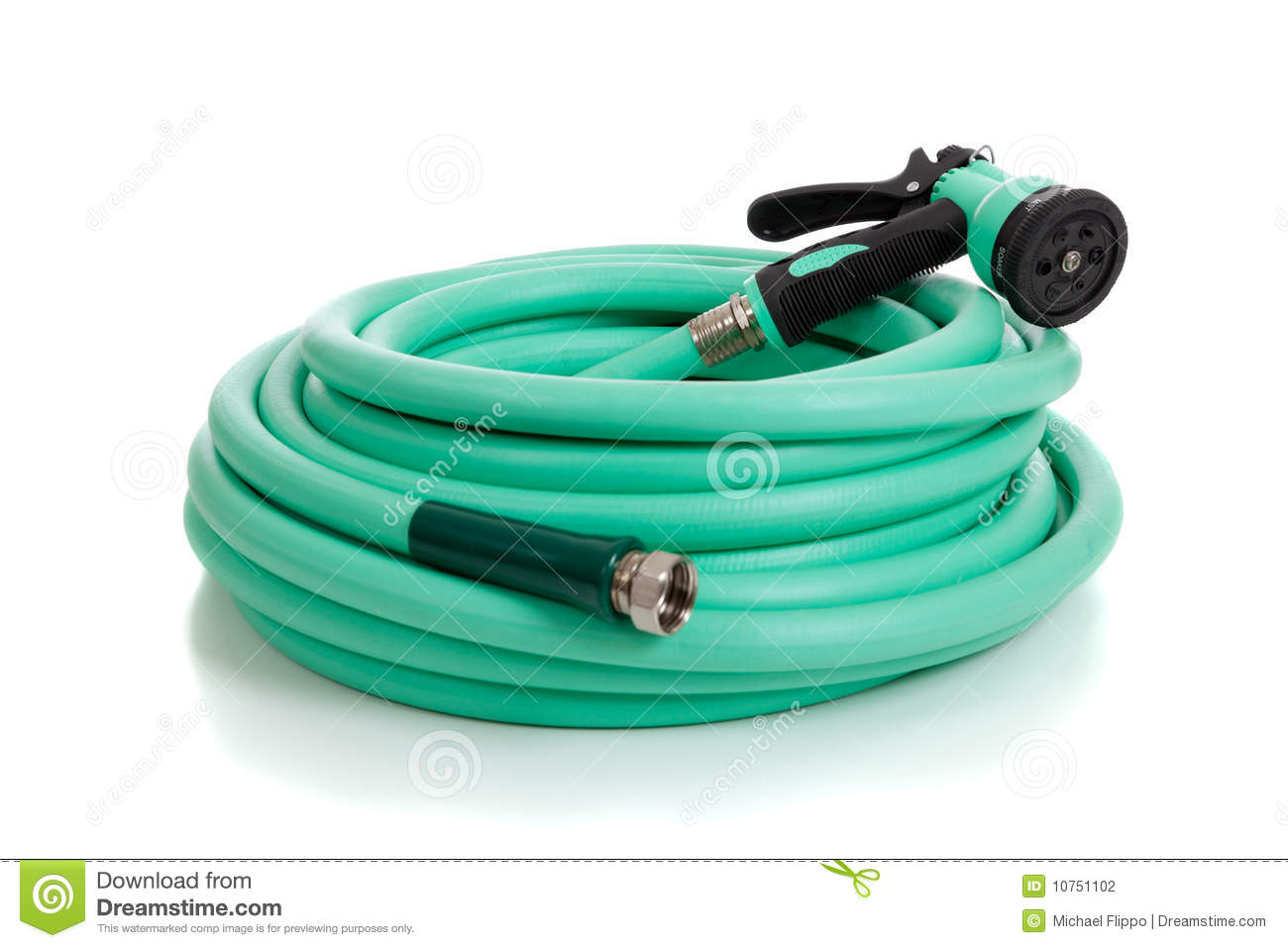 Green Garden Hose With Sprayer Stock Photography Image 10751102