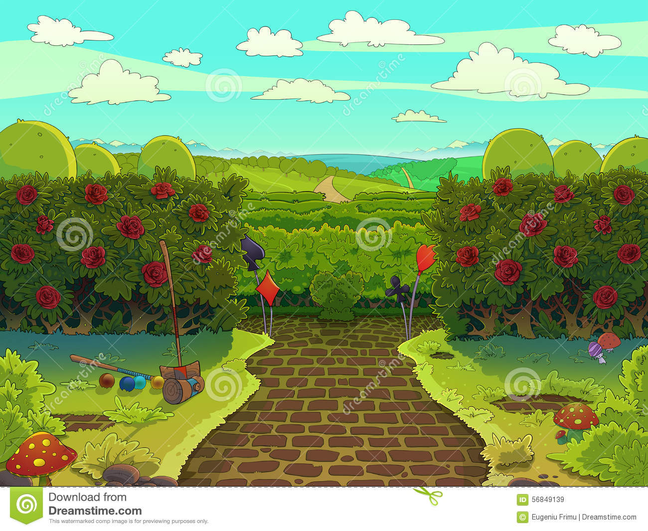 Green Garden With Red Roses  Croquet Court  Stock