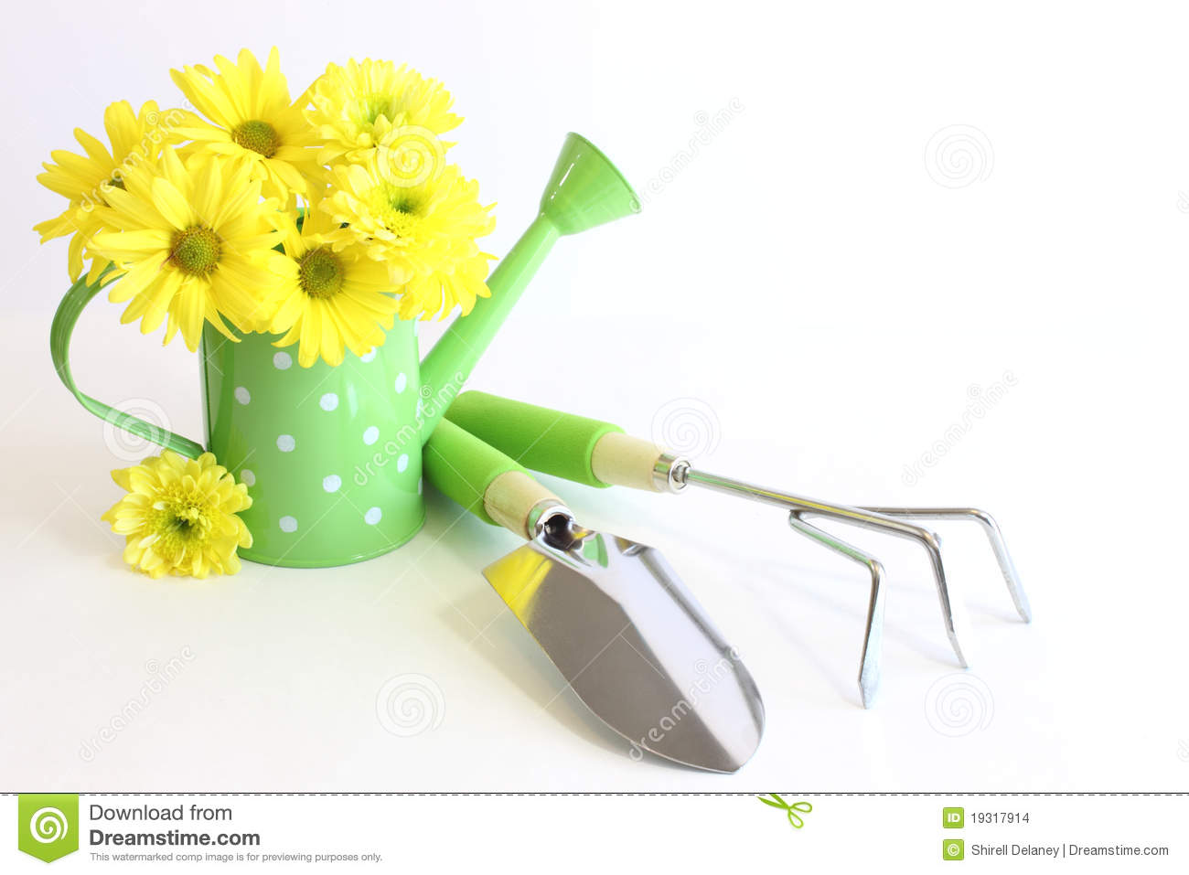 Green Gardening Tools with Yellow Flowers