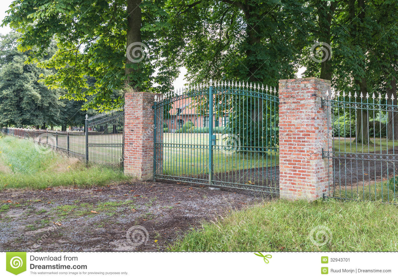 Green Gate And Two Red Pillars Stock Image Image 32943701