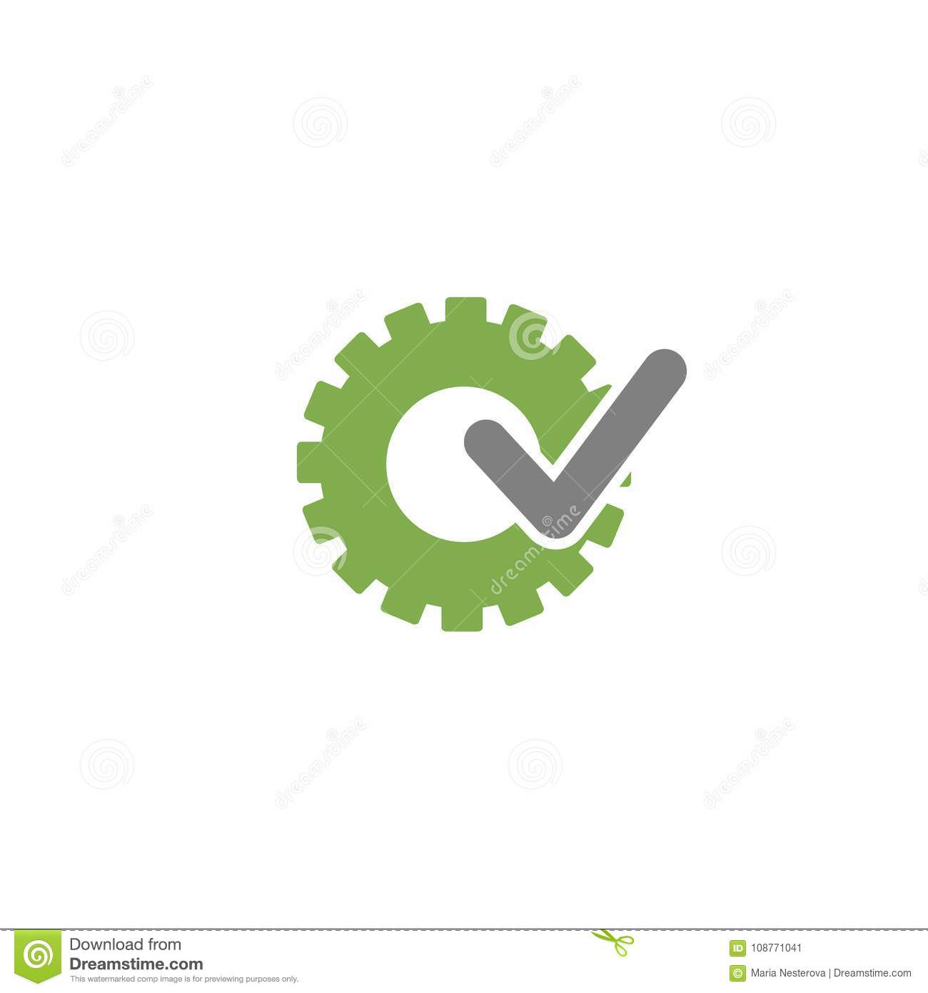 Green gear with grey tick icon. Vector flat illustration for technology or innovation.
