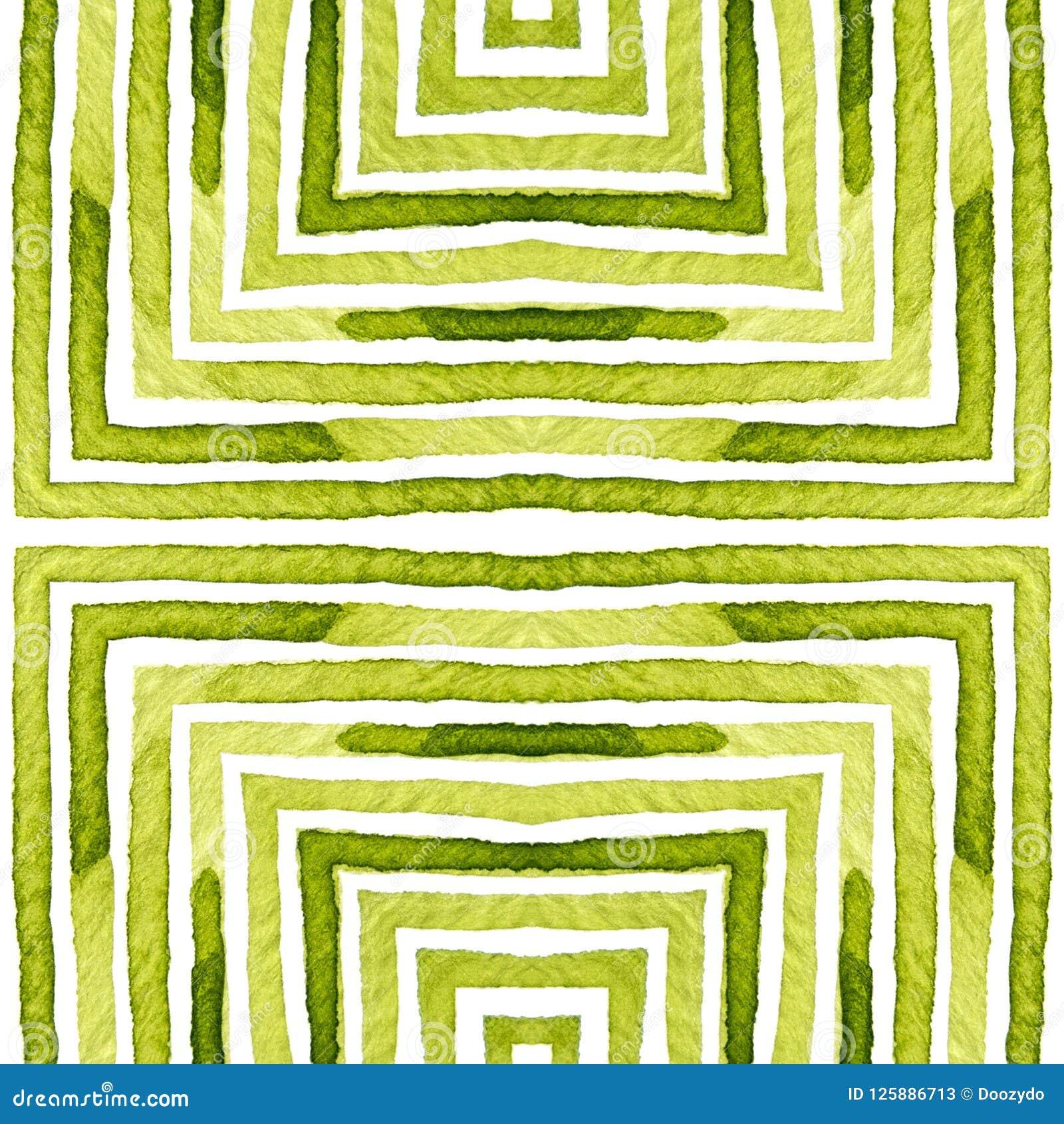Green Geometric Watercolor  Delicate Seamless Pattern  Hand