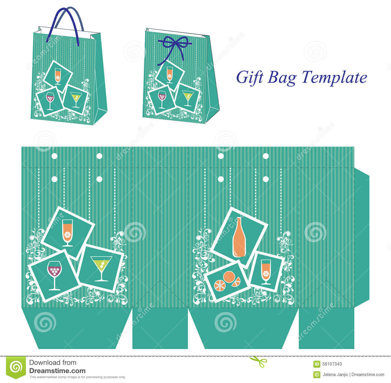 Green Gift Bag Template With Cocktail Wine And Juice Stock Vector