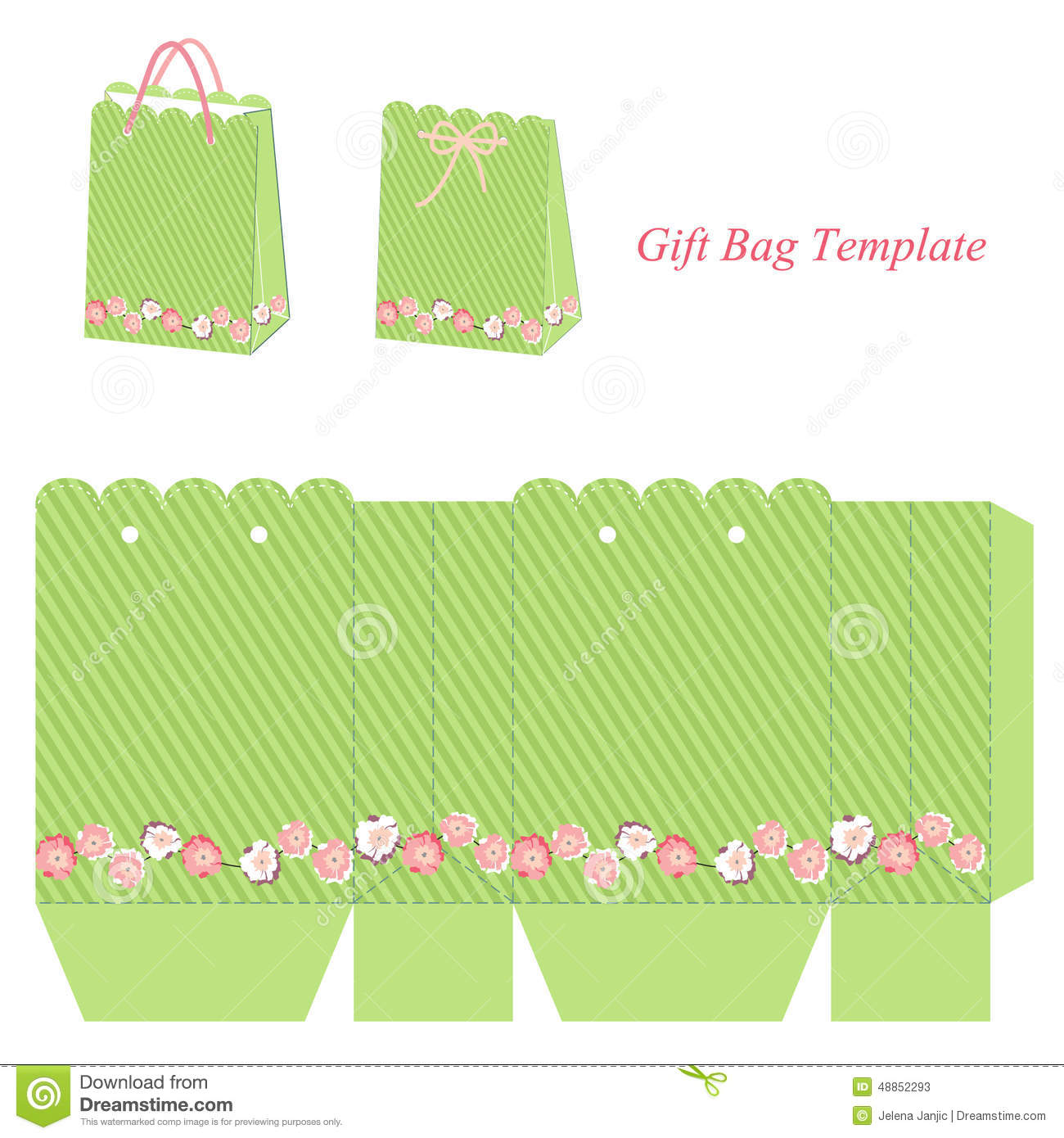 Green gift bag template with stripes and pink flowers stock vector green gift bag template with stripes and flowers vector illustration maxwellsz