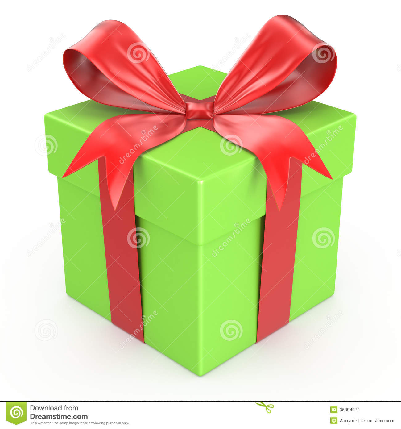 Green gift box with red ribbon bow stock illustration