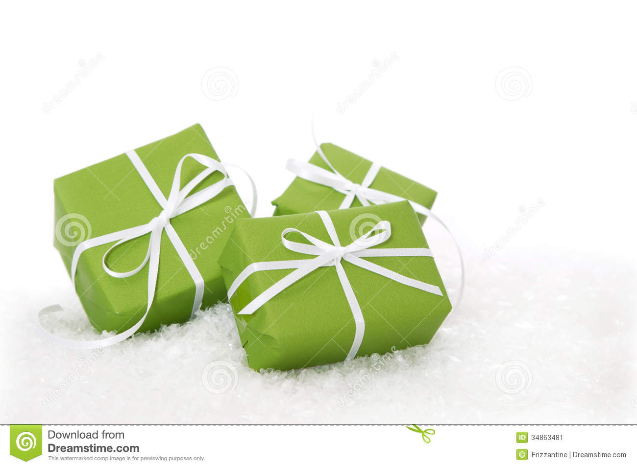 Green Gift Box Tied With White Ribbon - Present Isolated For Chr ...