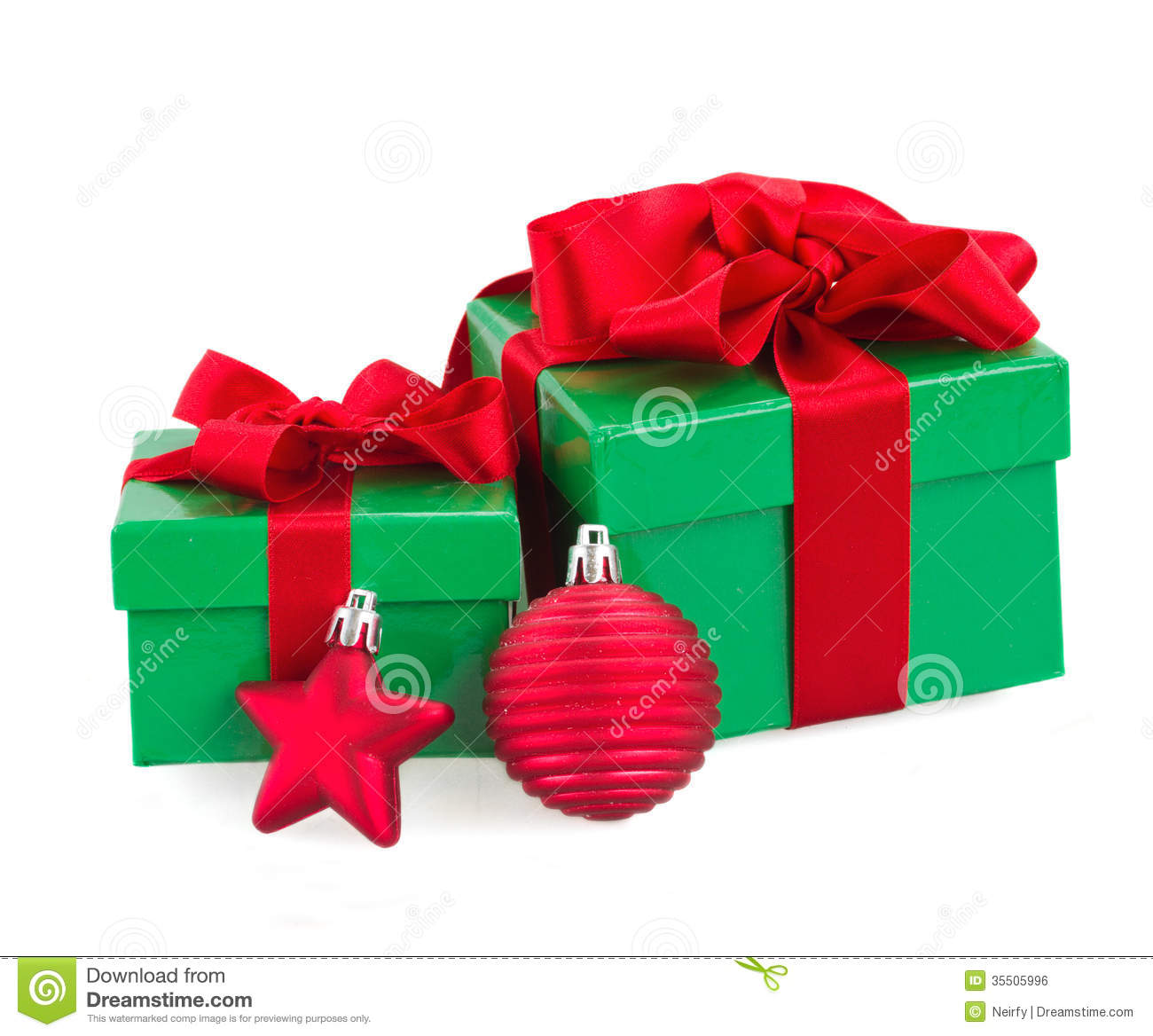 Green Gift Boxes And Christmas Red Decorations Stock Photo