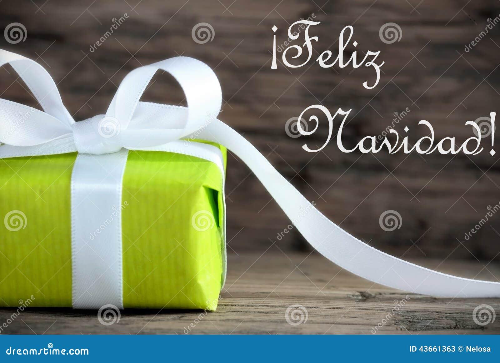 Green Gift with Feliz Navidad