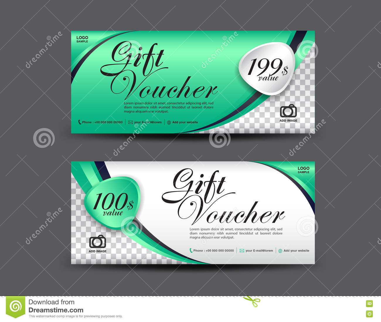 green gift voucher template coupon design gift certificate stock