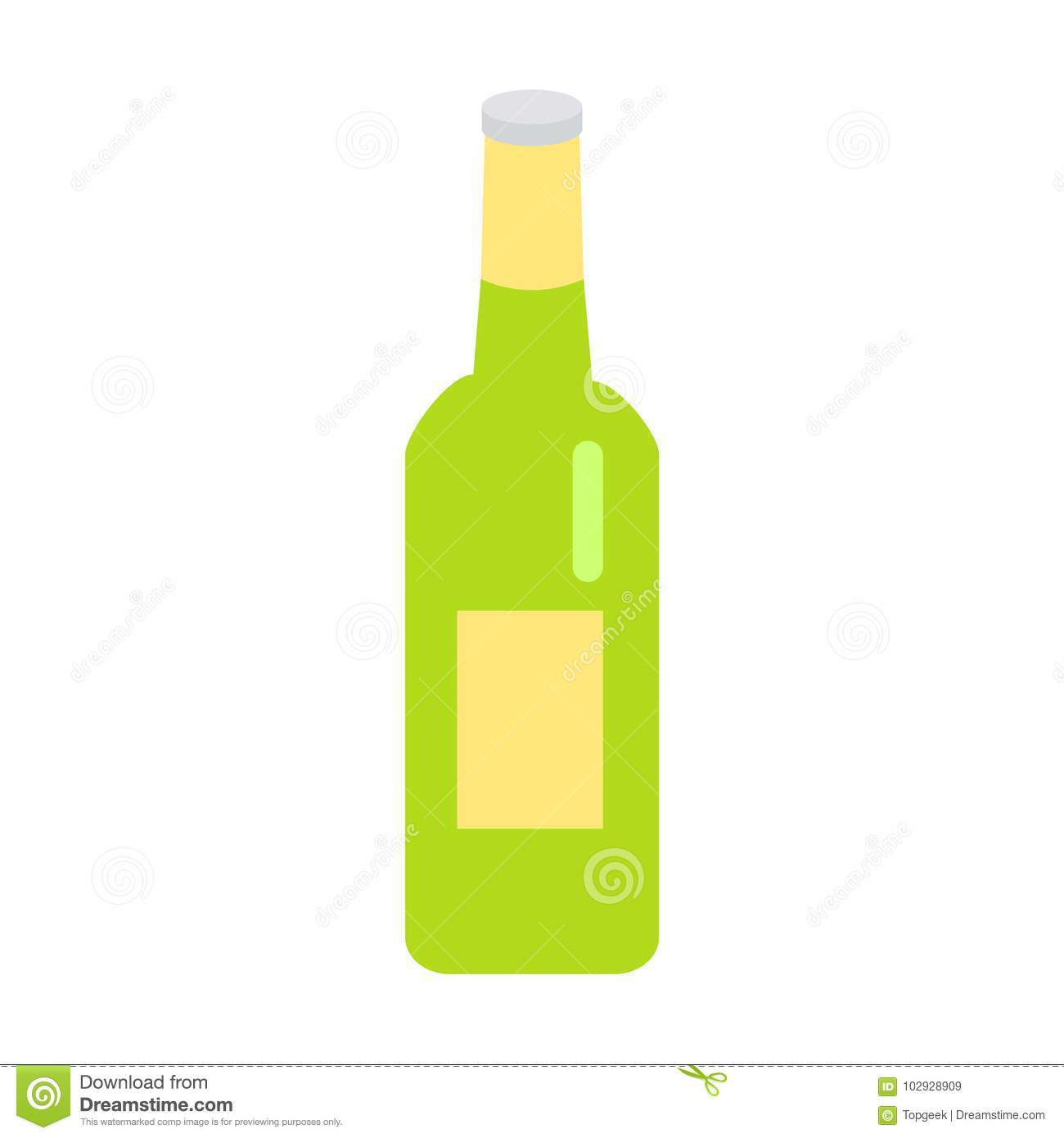 Green Glass Beer Bottle With Yellow Label Icon Stock