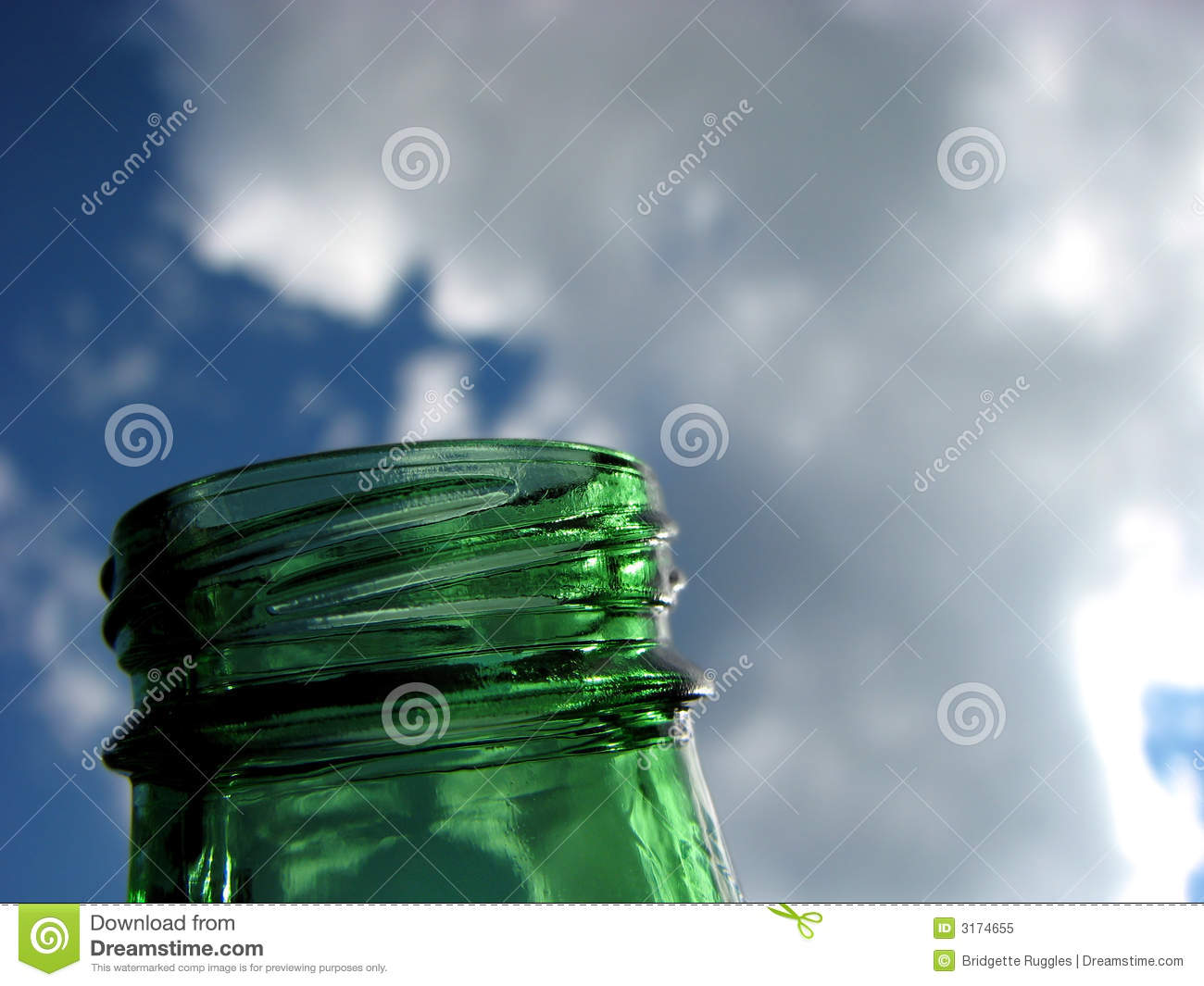 Green glass and blue sky