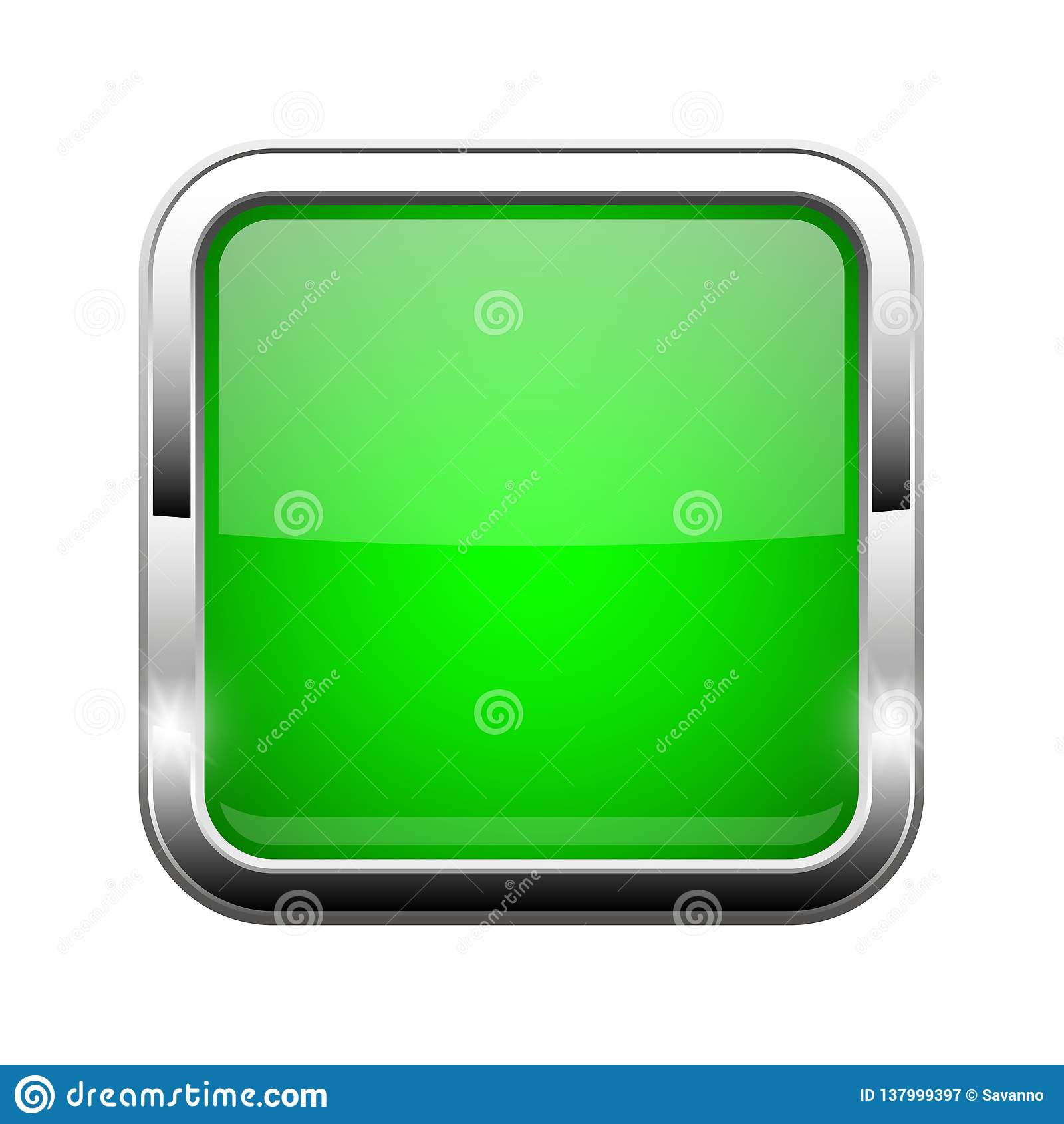 Green Glass Button. Shiny Square 3d Web Icon Stock Vector