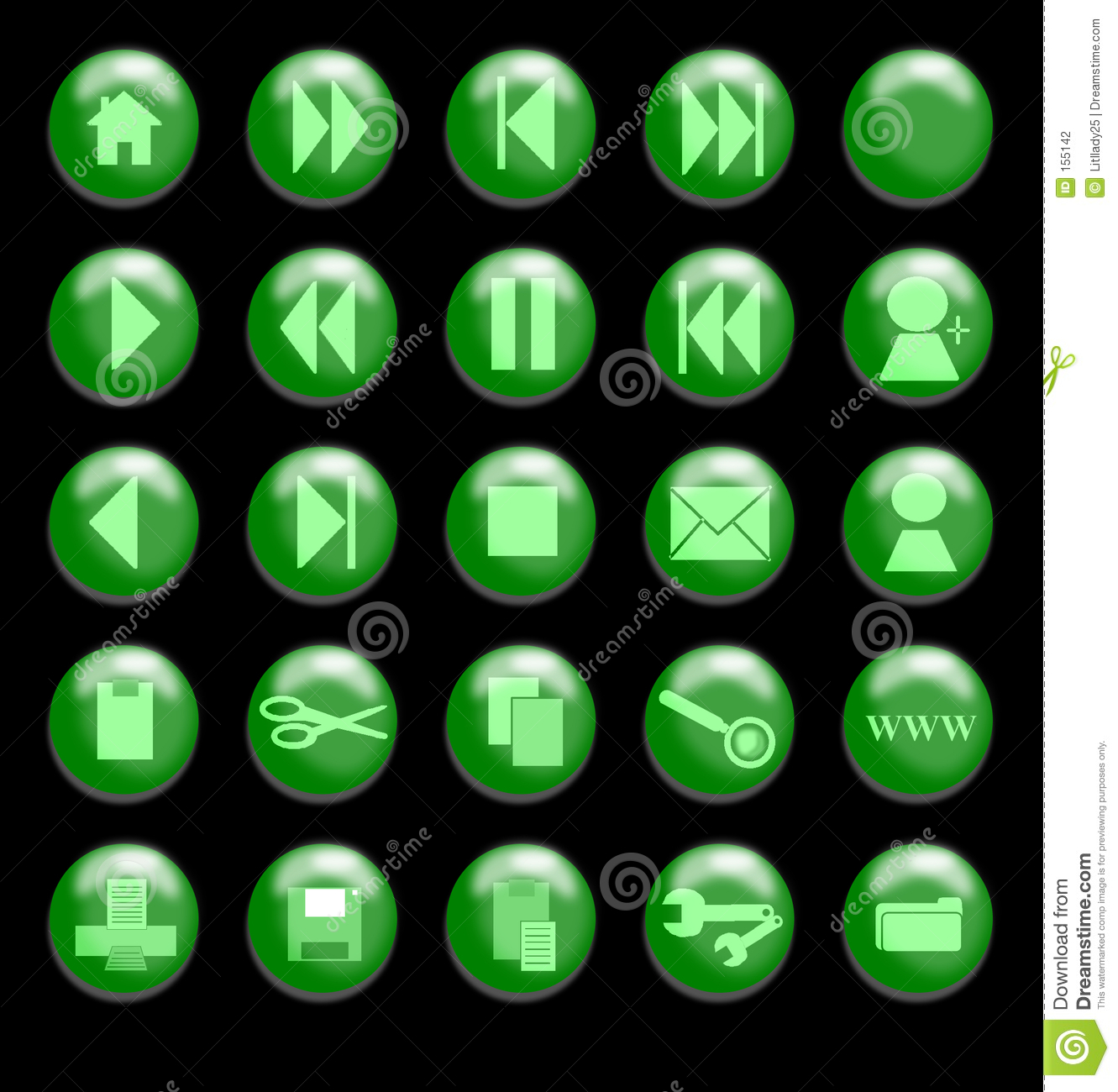Green Glass Buttons on a Black Background