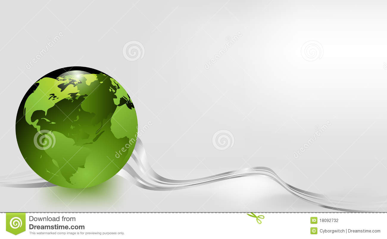 Green Glass Earth On A Silver Grey Background Stock
