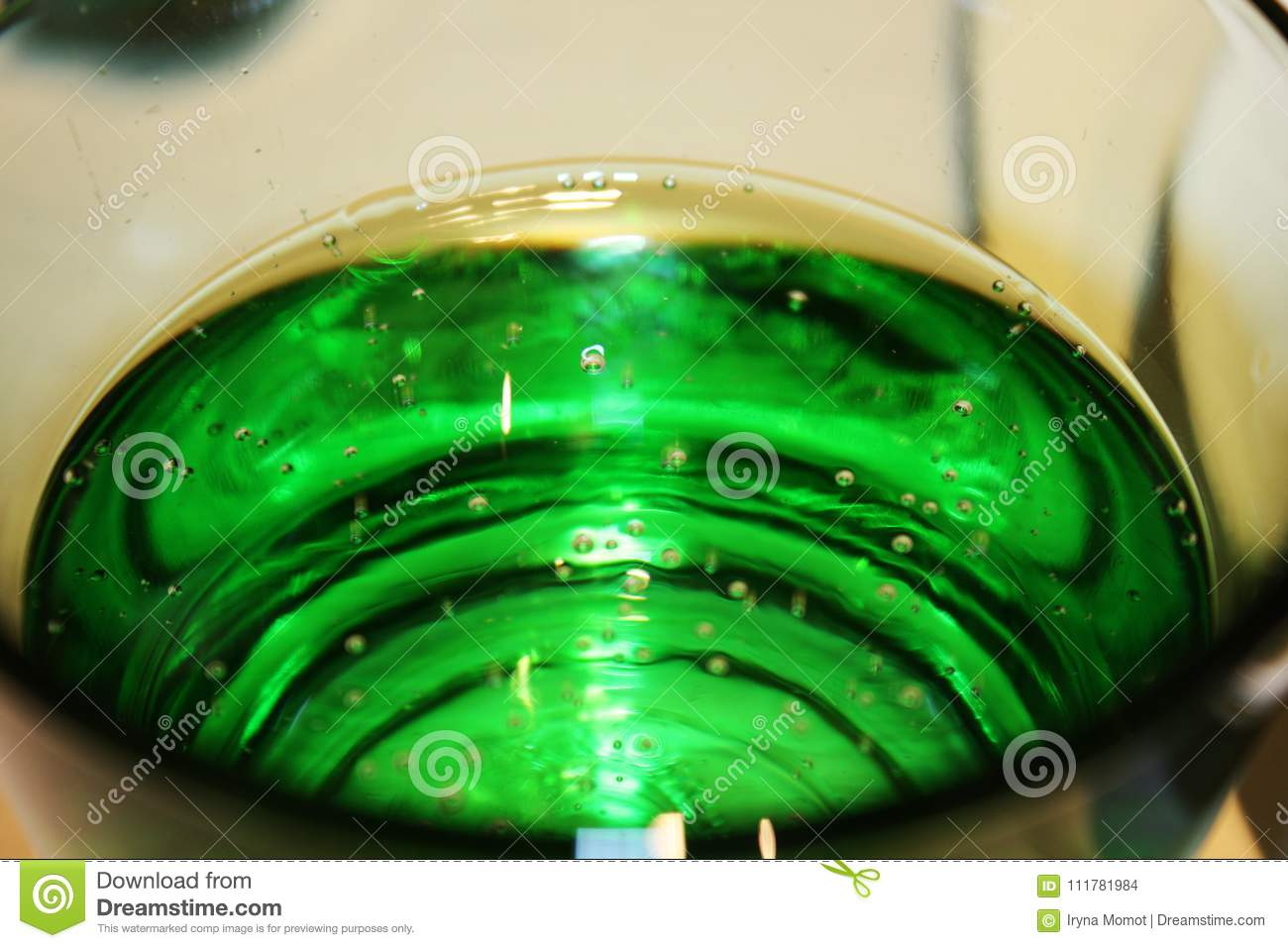 Green glass with sparkling water