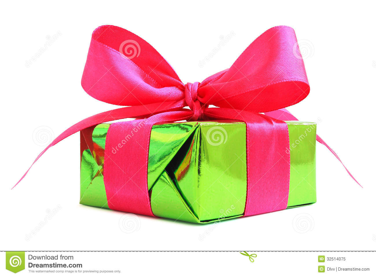 Green Glossy Gift Wrapped Present With Pink Satin Bow